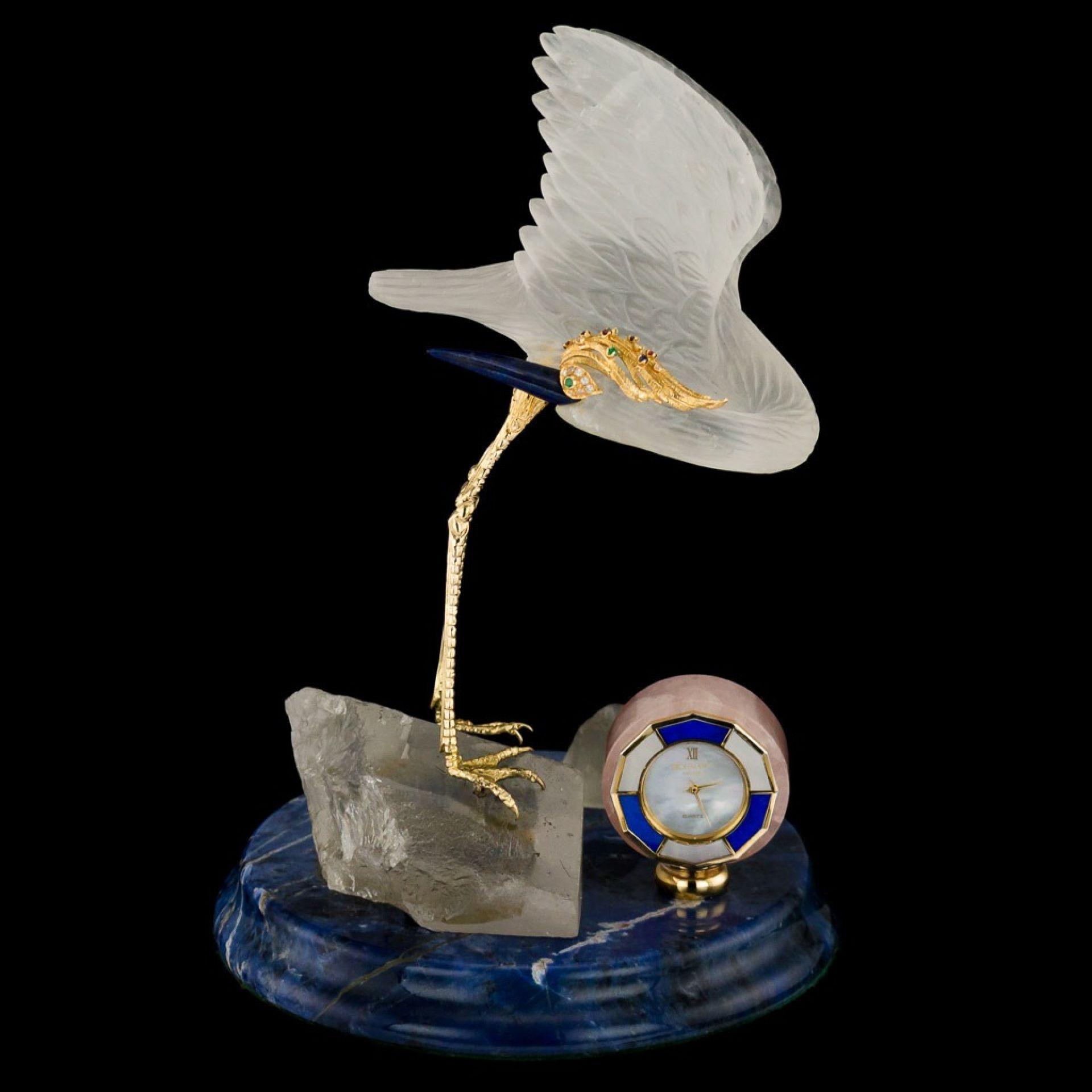FROHMANN 20thC 18K GOLD, ROCK CRYSTAL, GEM BIRD STATUE & CLOCK c.1980