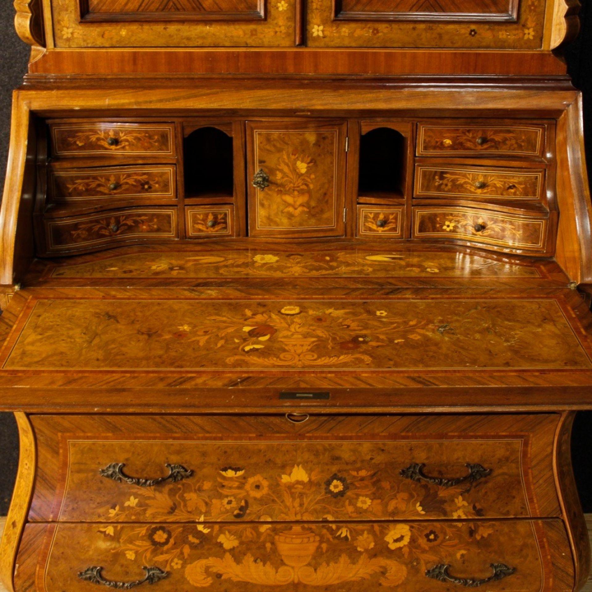 Italian Inlaid Trumeau in Walnut, Maple, Mahogany, Rosewood, Palisander