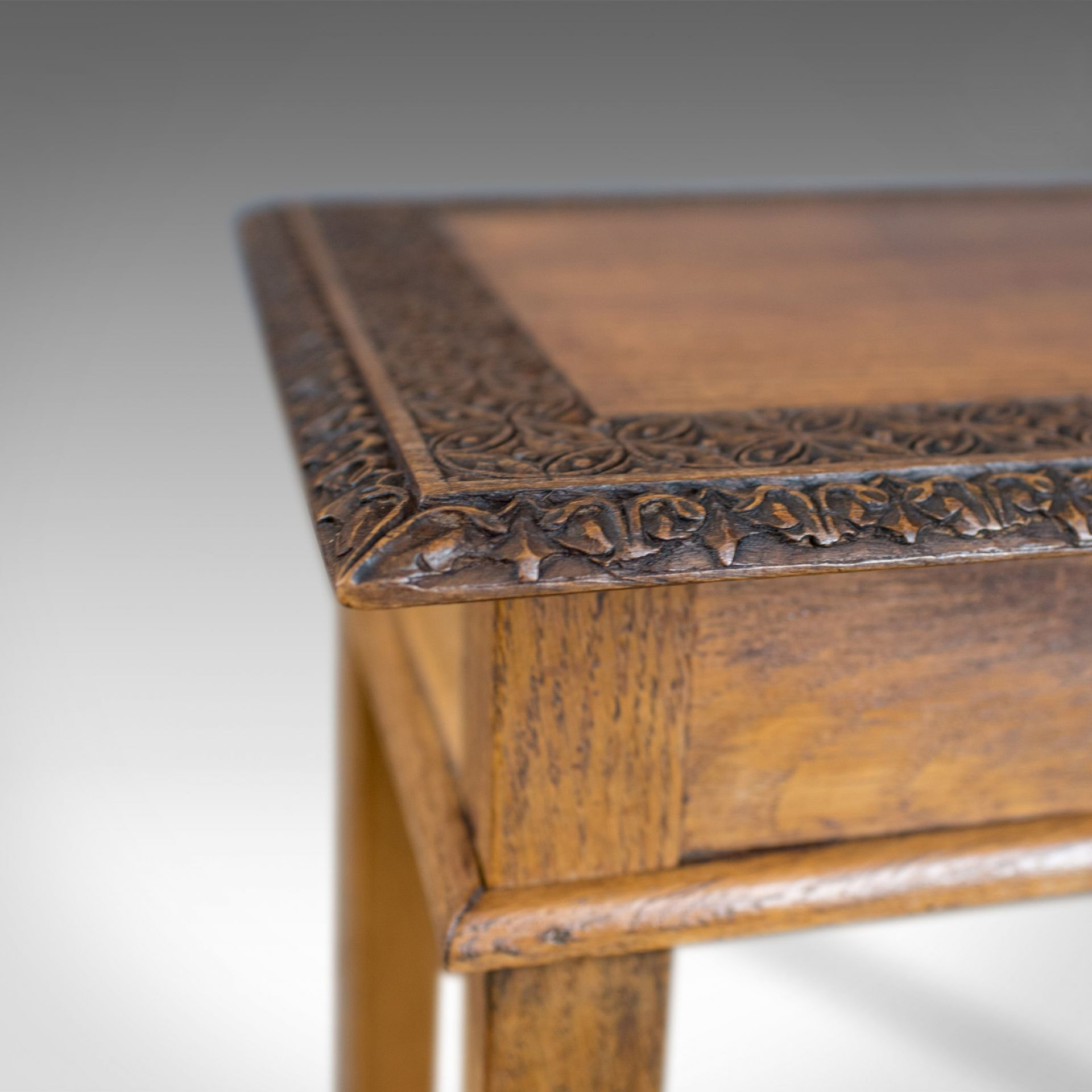 Antique Side Table, Carved, English, Oak, Occasional, Early C20th, Circa 1930