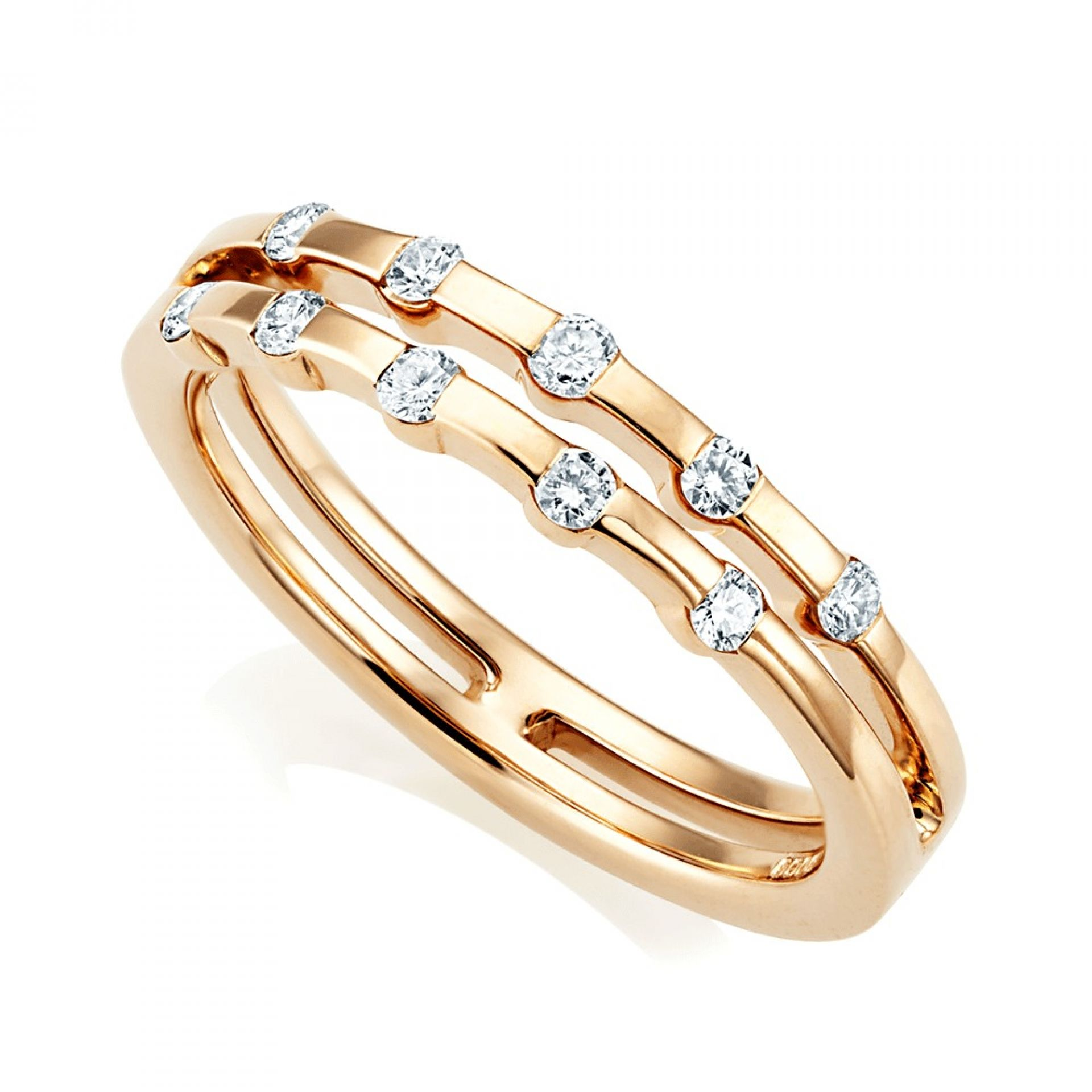 18CT ROSE GOLD DOUBLE DIAMOND RING