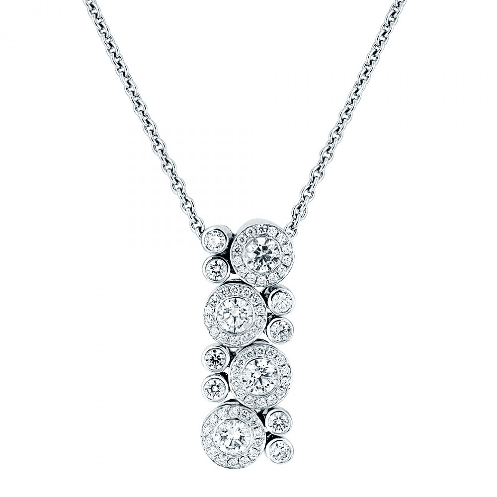 18CT WHITE GOLD DIAMOND CLUSTER NECKLACE