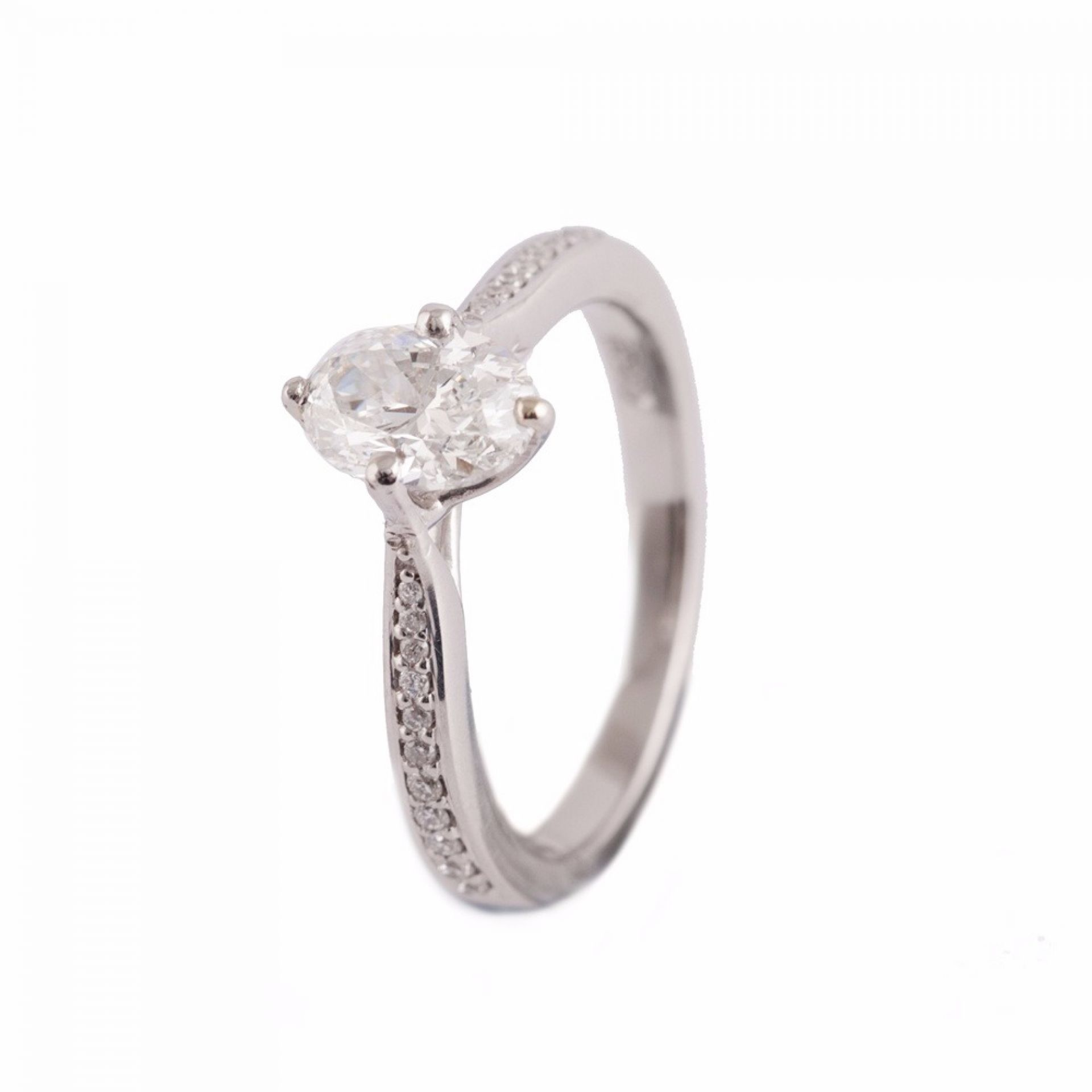 PLATINUM GIA OVAL CUT DIAMOND RING WITH SHOULDERS