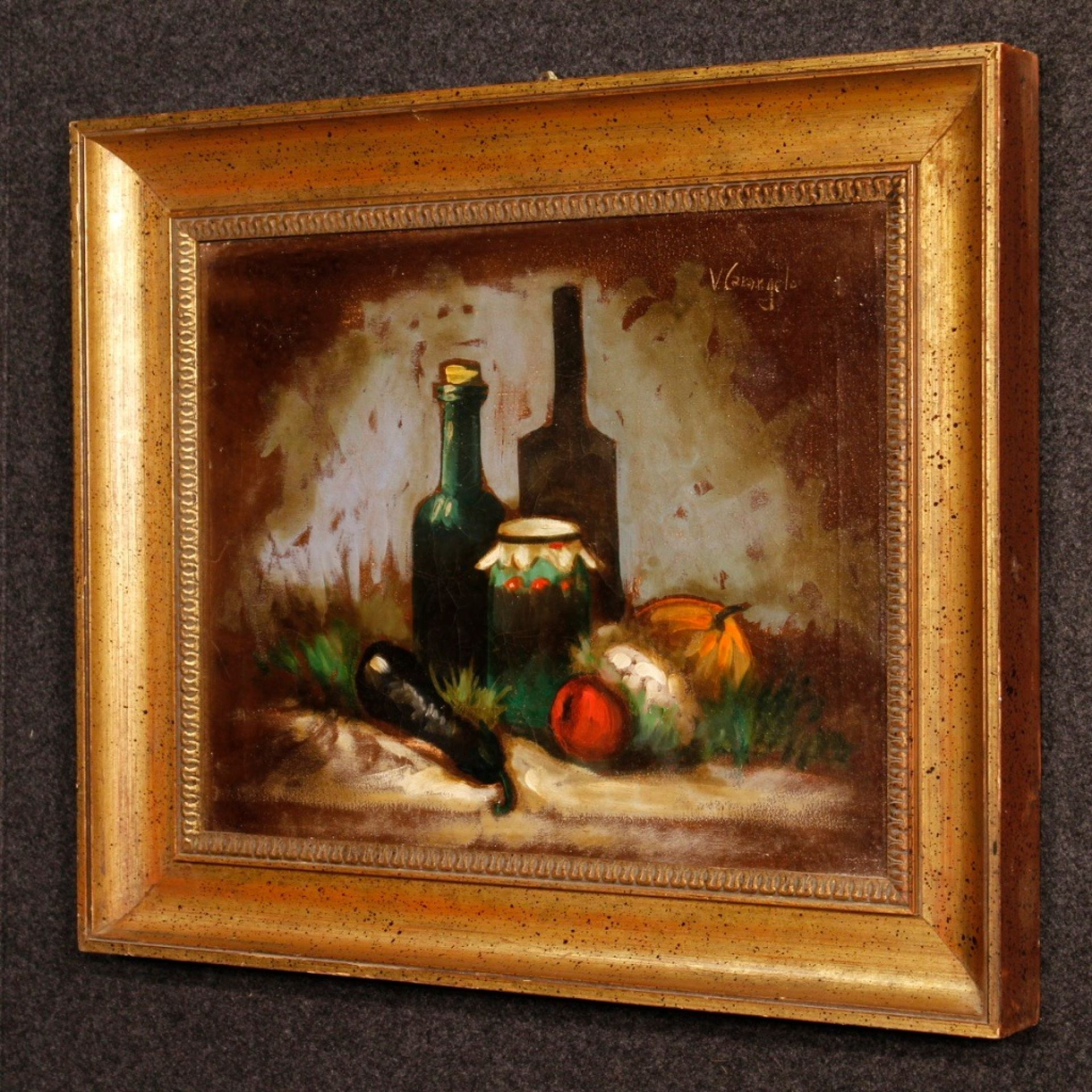 Italian Signed Still Life Oil On Canvas Painting From 20th Century