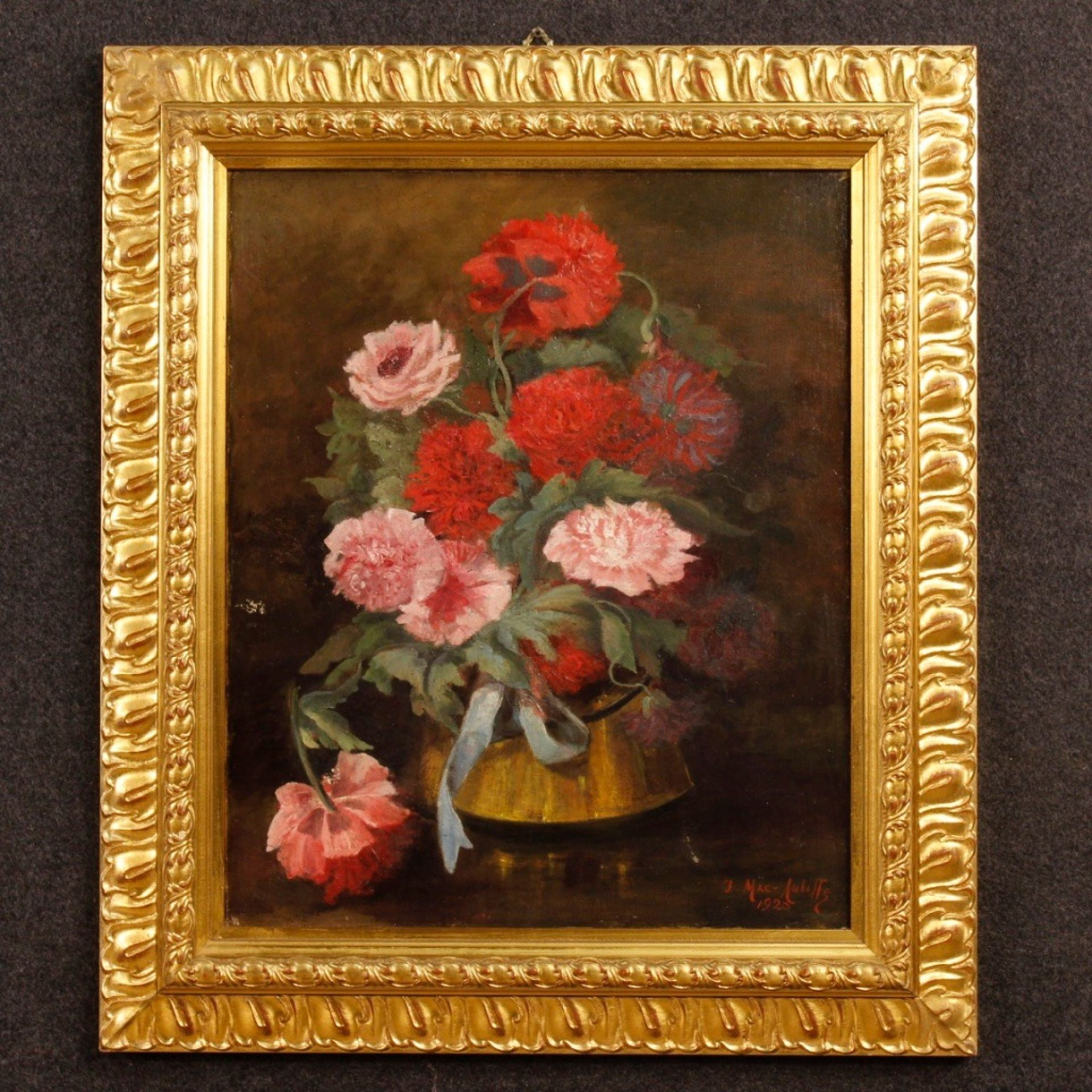 French Signed And Dated Still Life Painting Oil On Canvas From 20th Century