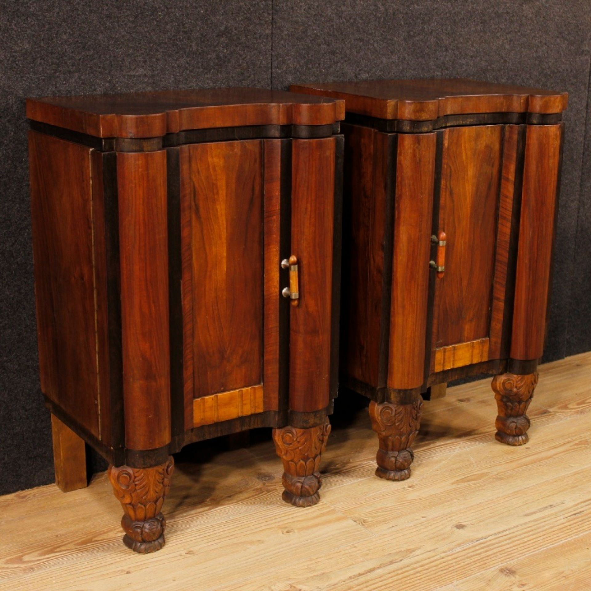 Pair Of French Wooden Bedside Tables In Art Deco Style From 20th Century