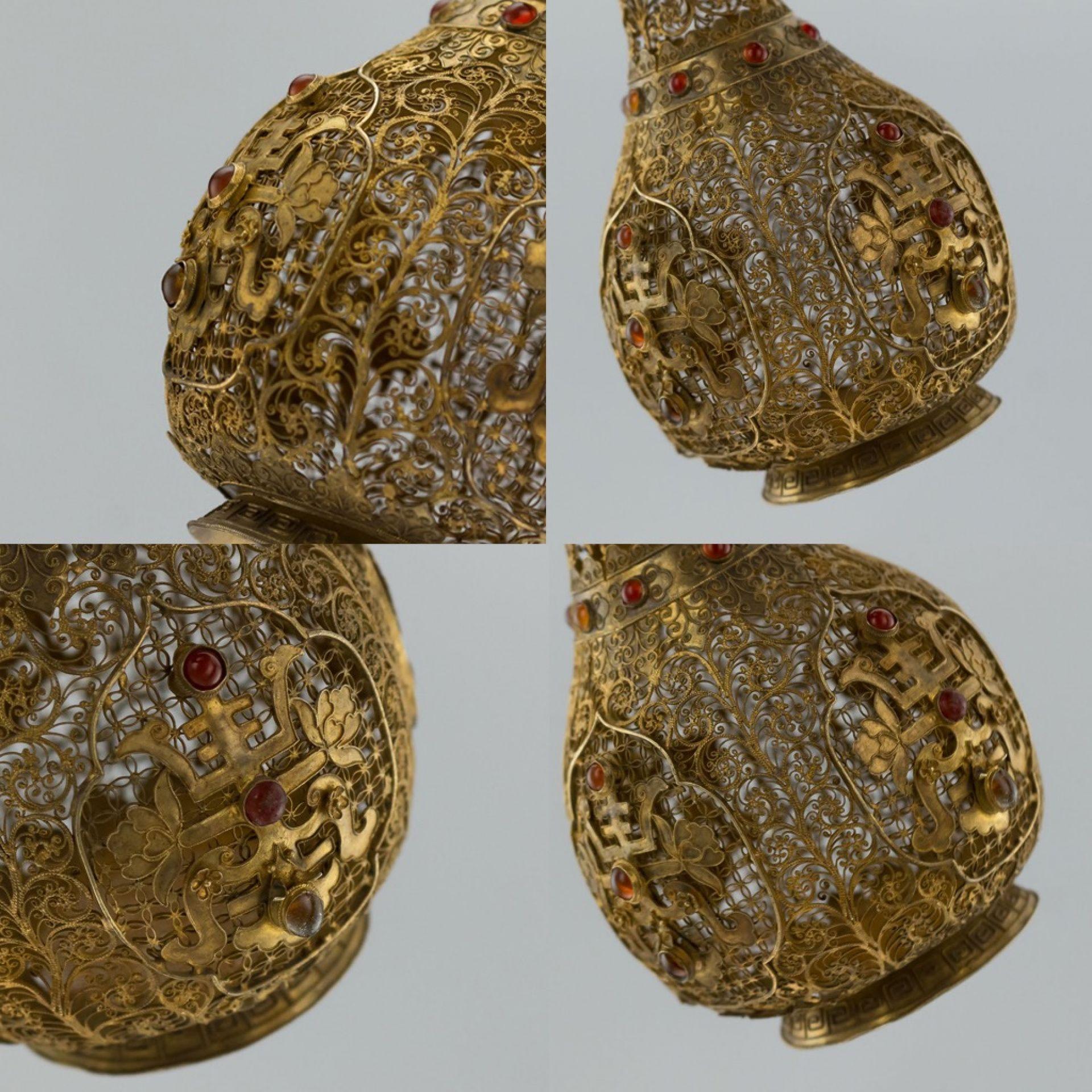 ANTIQUE 18thC RARE CHINESE SILVER GILT FILIGREE & GEM SET VASE c.1760