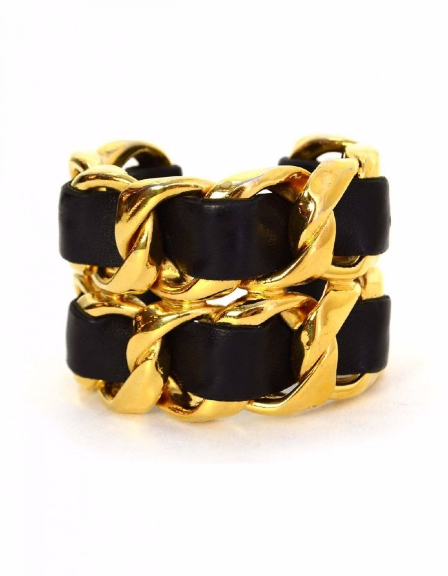 Chanel 1986 Black Leather Woven Wide Cuff