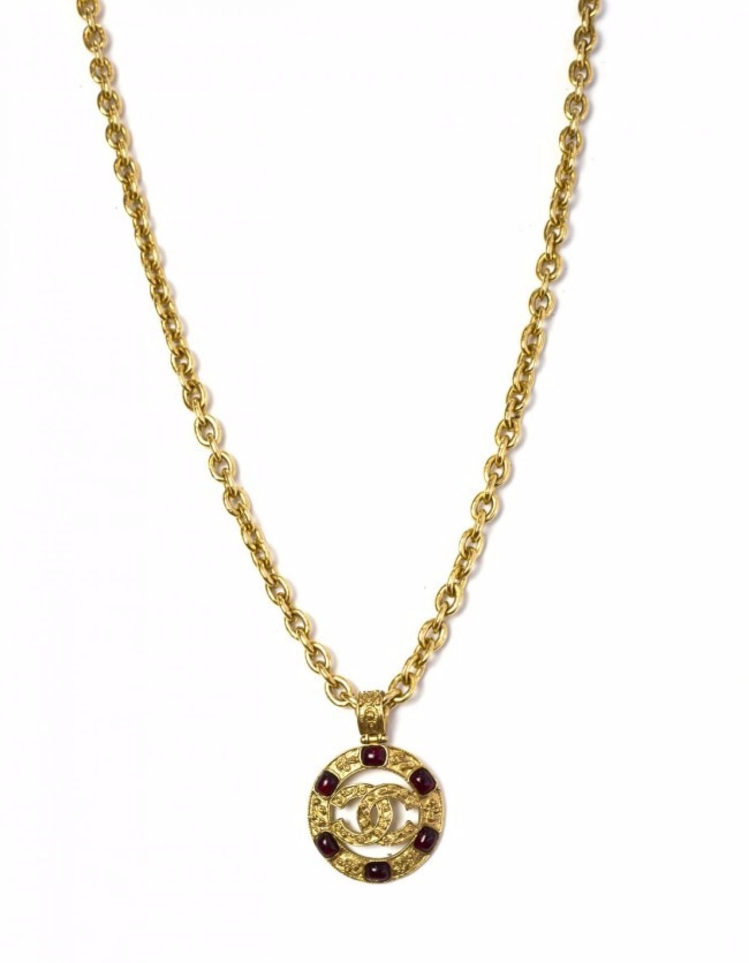 Chanel Vintage Red Gripoix & Goldtone Chain Necklace