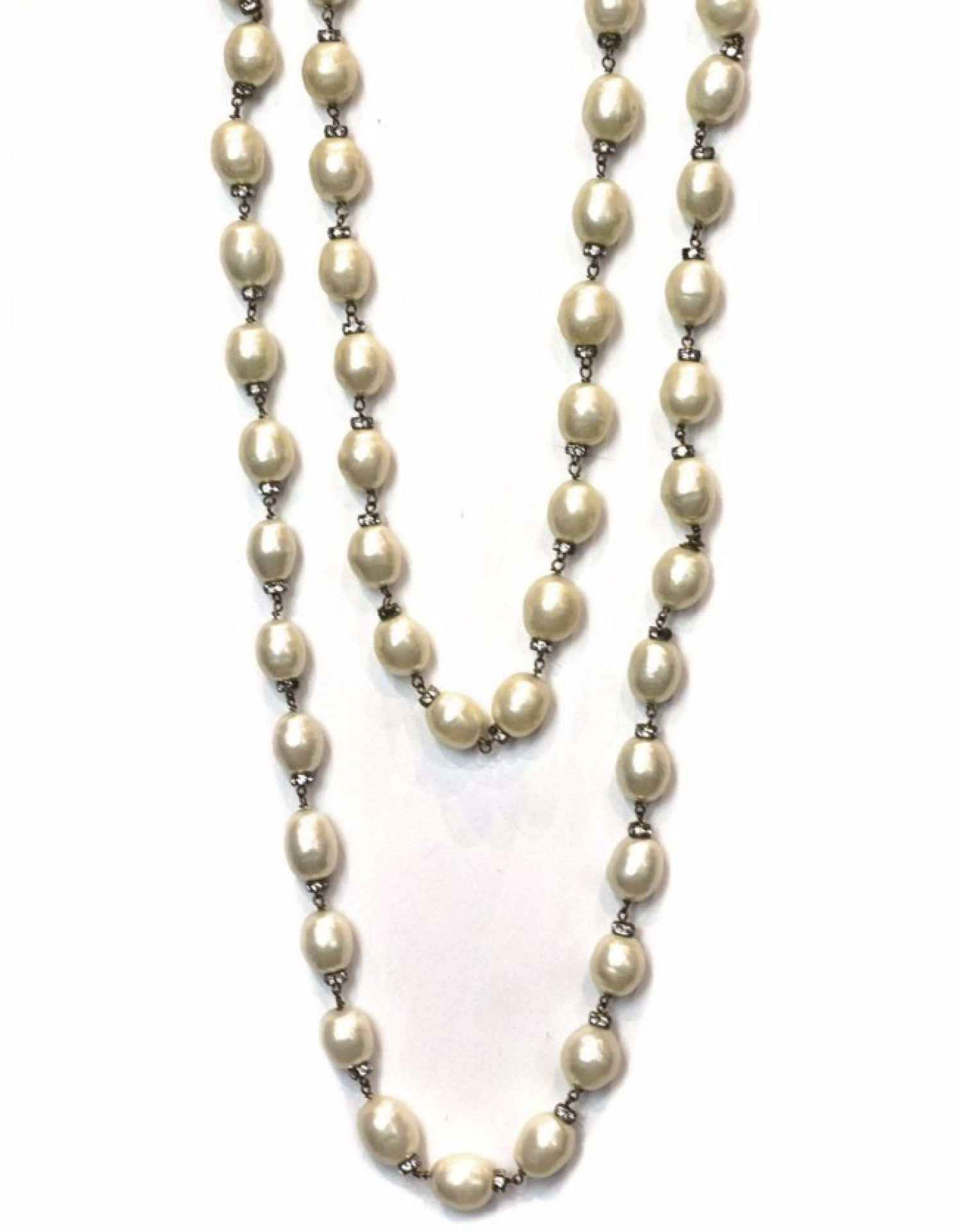 Chanel Double Strand Faux Pearl & Crystal Necklace