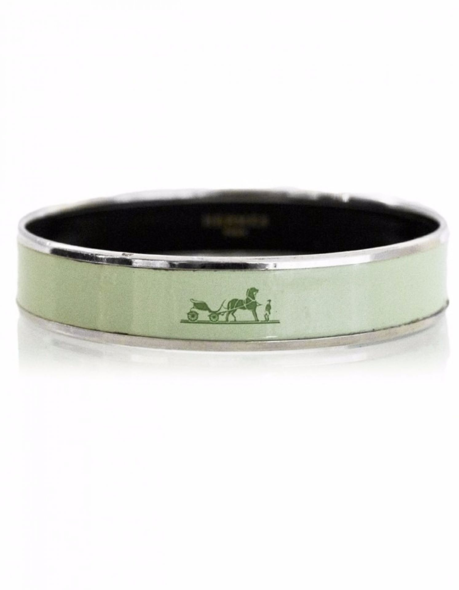 Hermes Green Medium Calache Enamel Bangle Sz 65