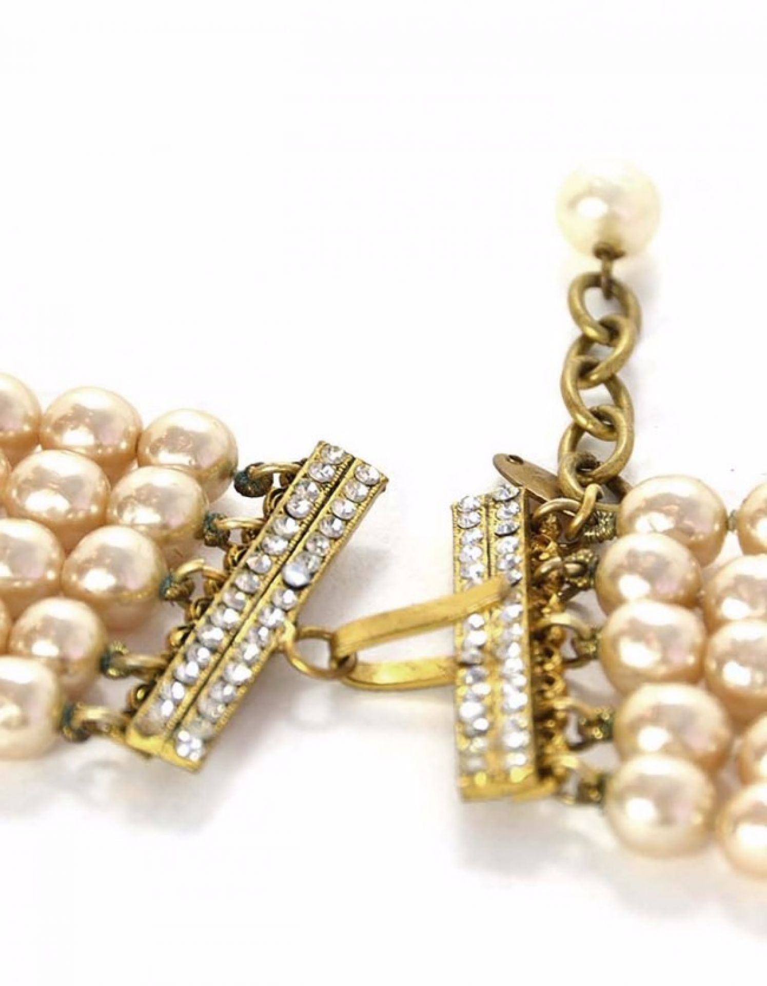 Chanel Vintage Multi-Strand Pearl & Crystal Necklace