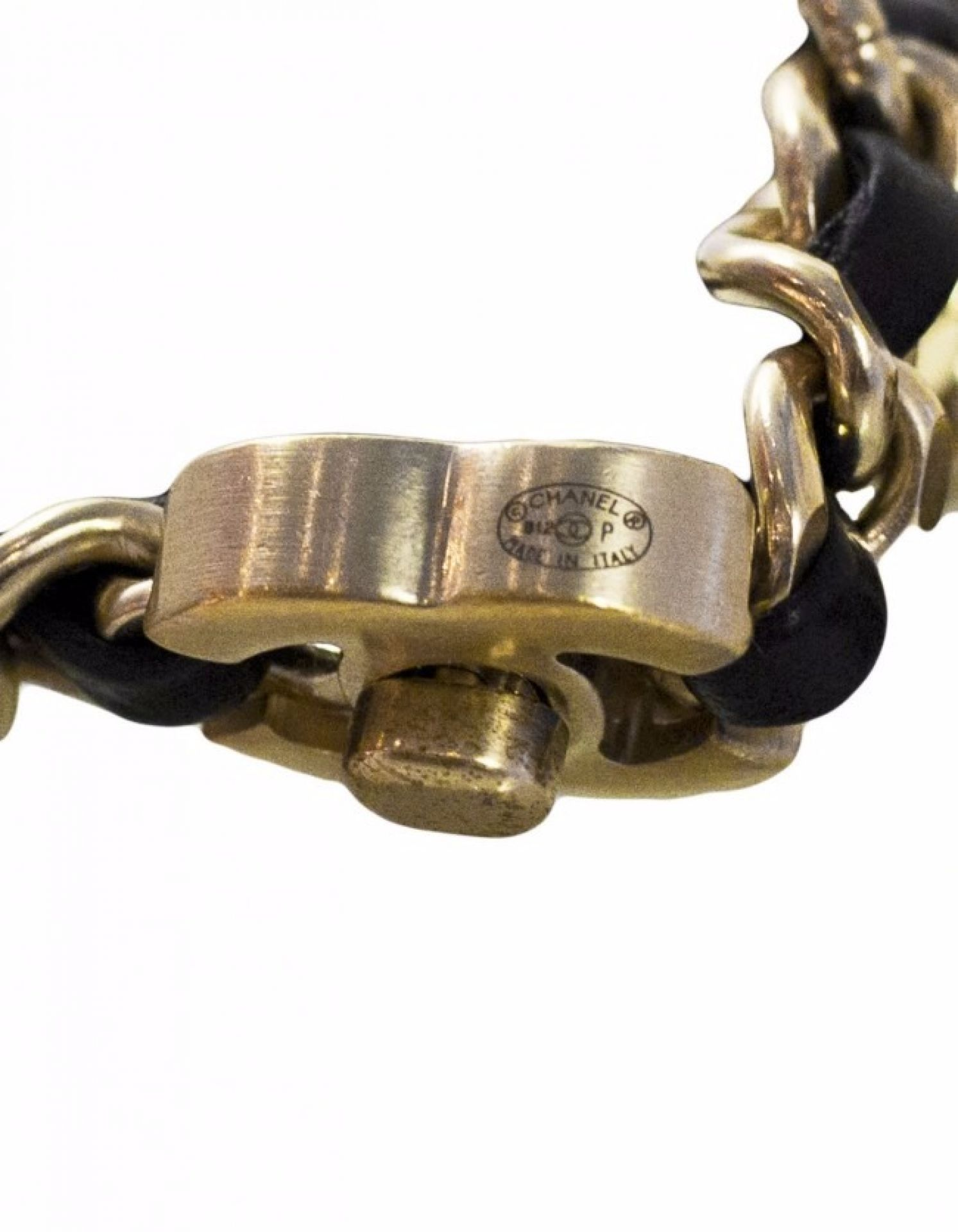 Chanel Black and Light Goldtone Woven Leather CC Twist Lock Necklace