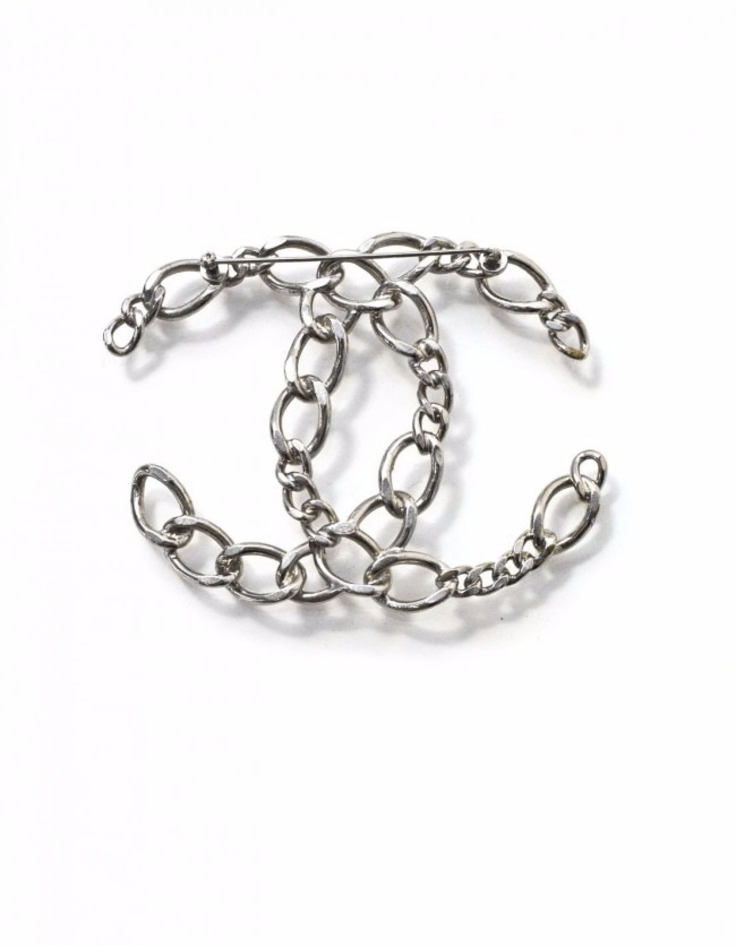 Chanel Silvertone Chain-Link Large CC Brooch