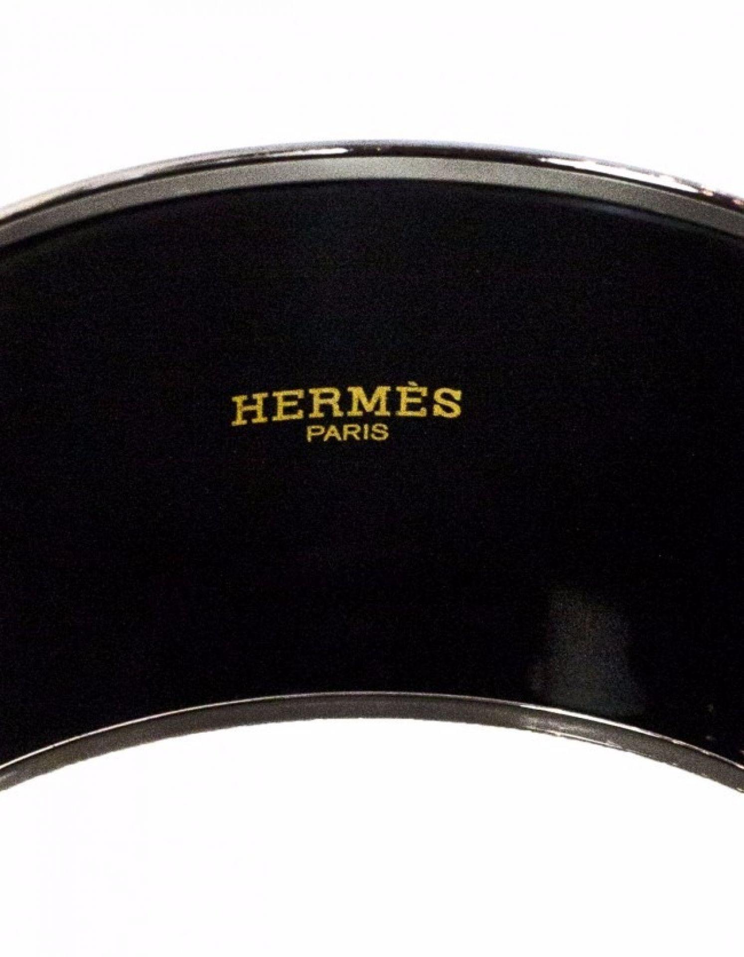 Hermes Brown & Green Geometric Extra Wide Enamel Bangle Sz 65