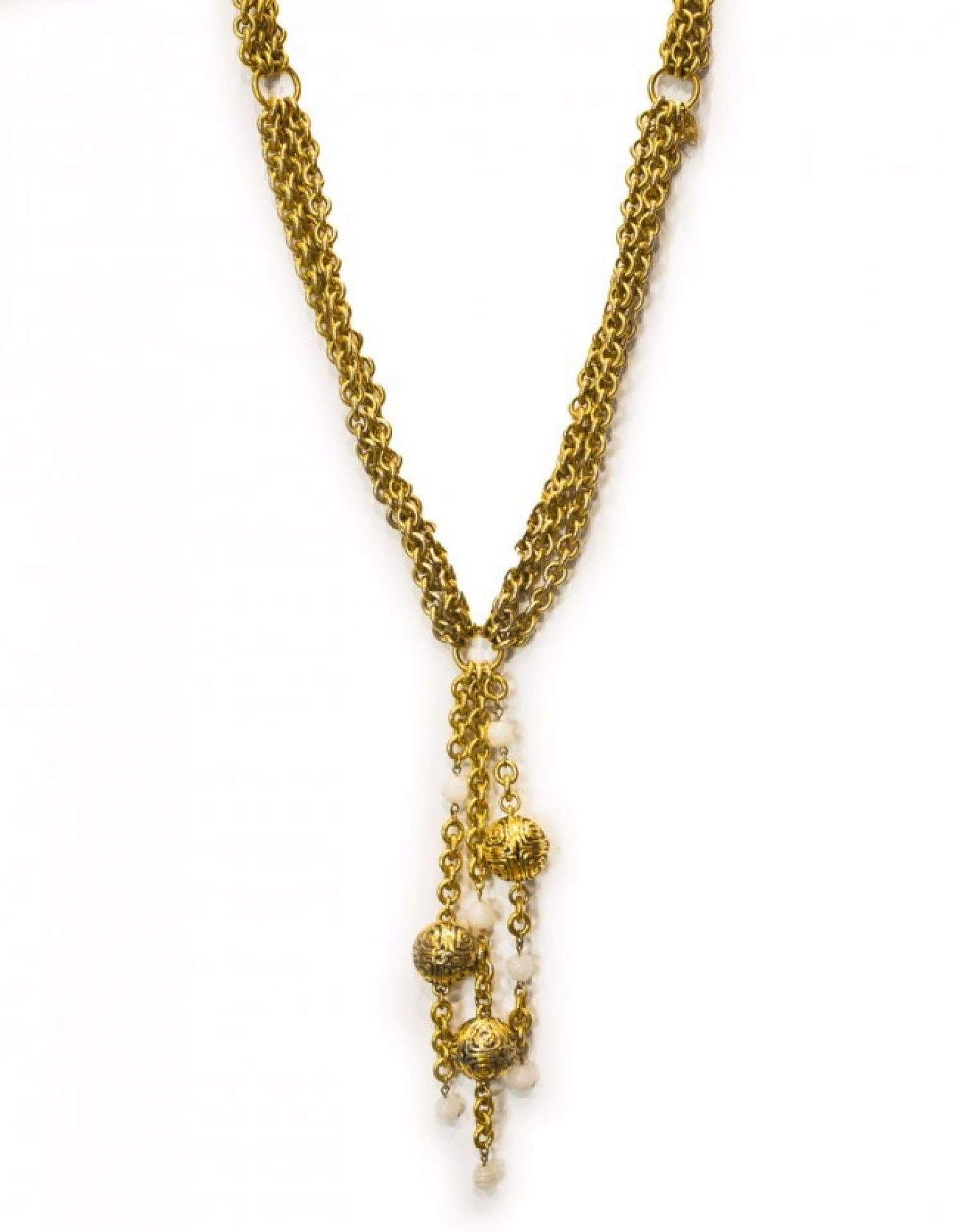 Chanel Vintage Goldtone Triple-Chain Ball Necklace