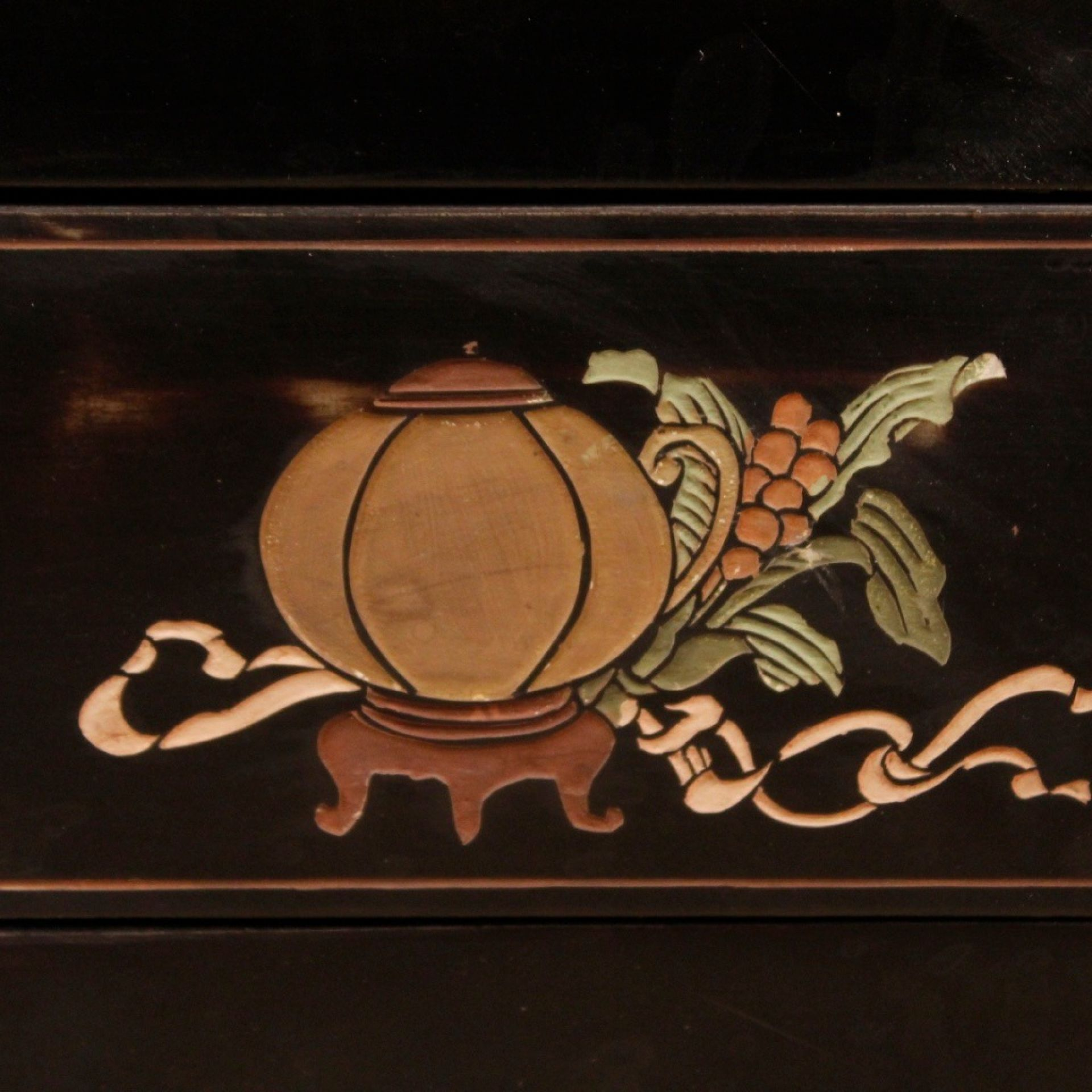 French Bedside Table In Lacquered And Painted Chinoiserie Wood From 20th Century
