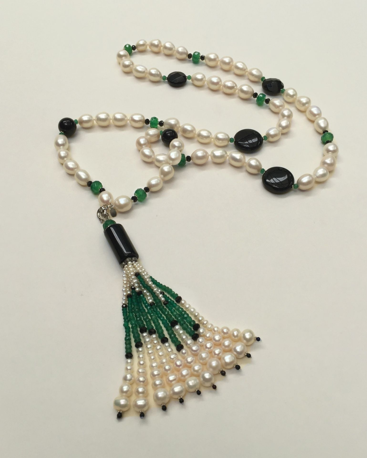 Black Onyx, Jade and Pearl Necklace with Tassel and 14 Karat White Gold Clasp