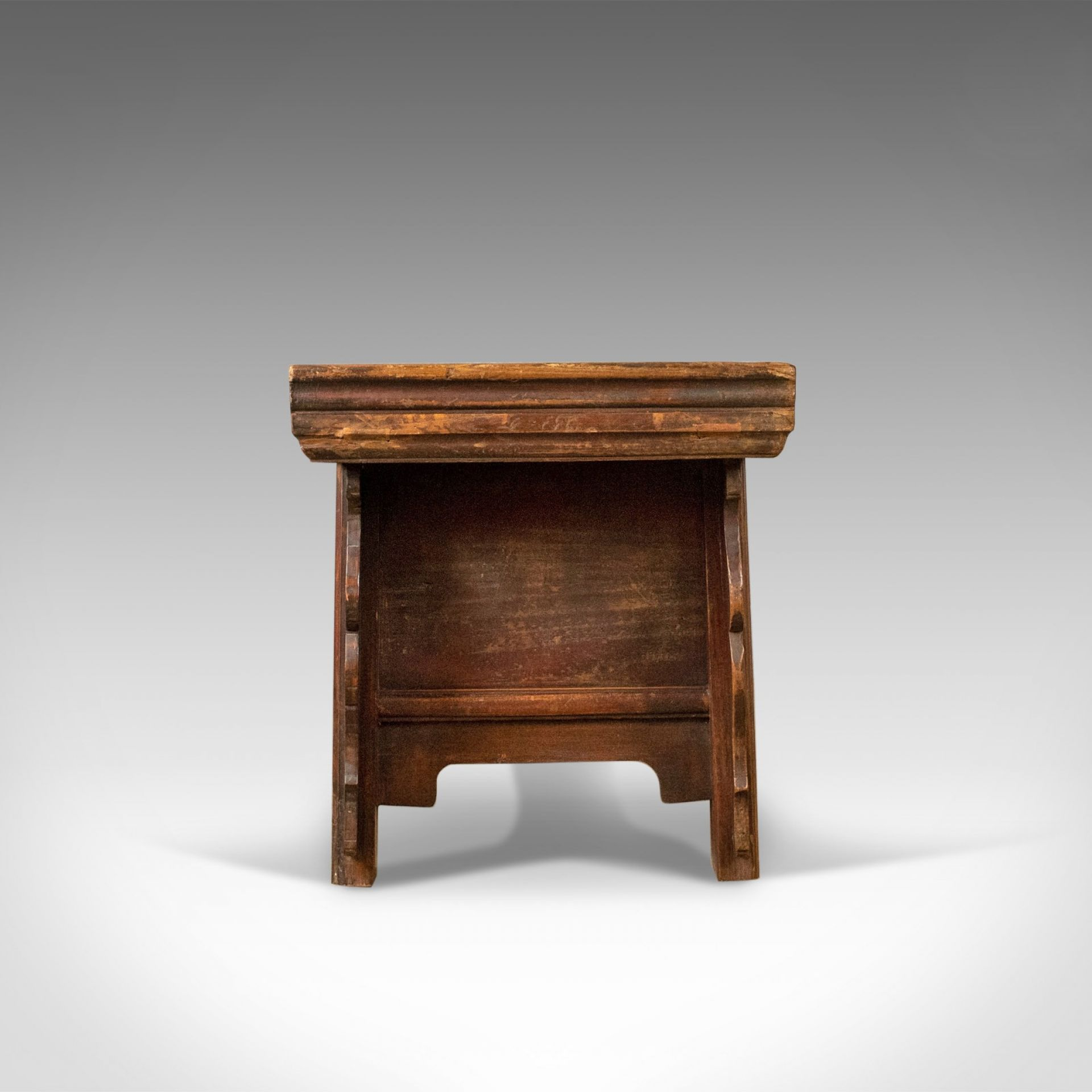 Mid-Century Chinese Elm Low Cabinet-Seat, Broad Bench, Storage 20th Century