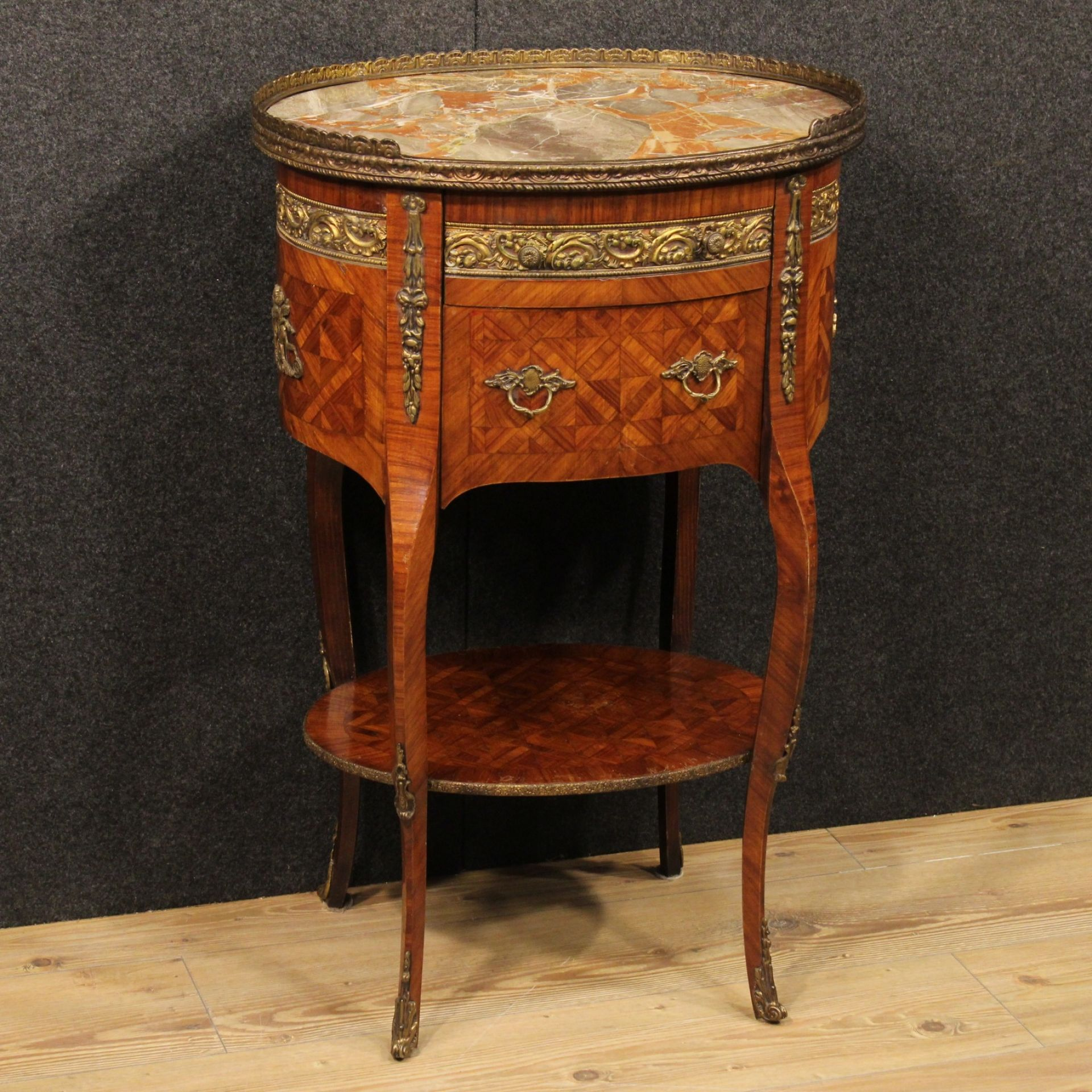 French Inlaid Nightstand In Rosewood With Marble Top From 20th Century