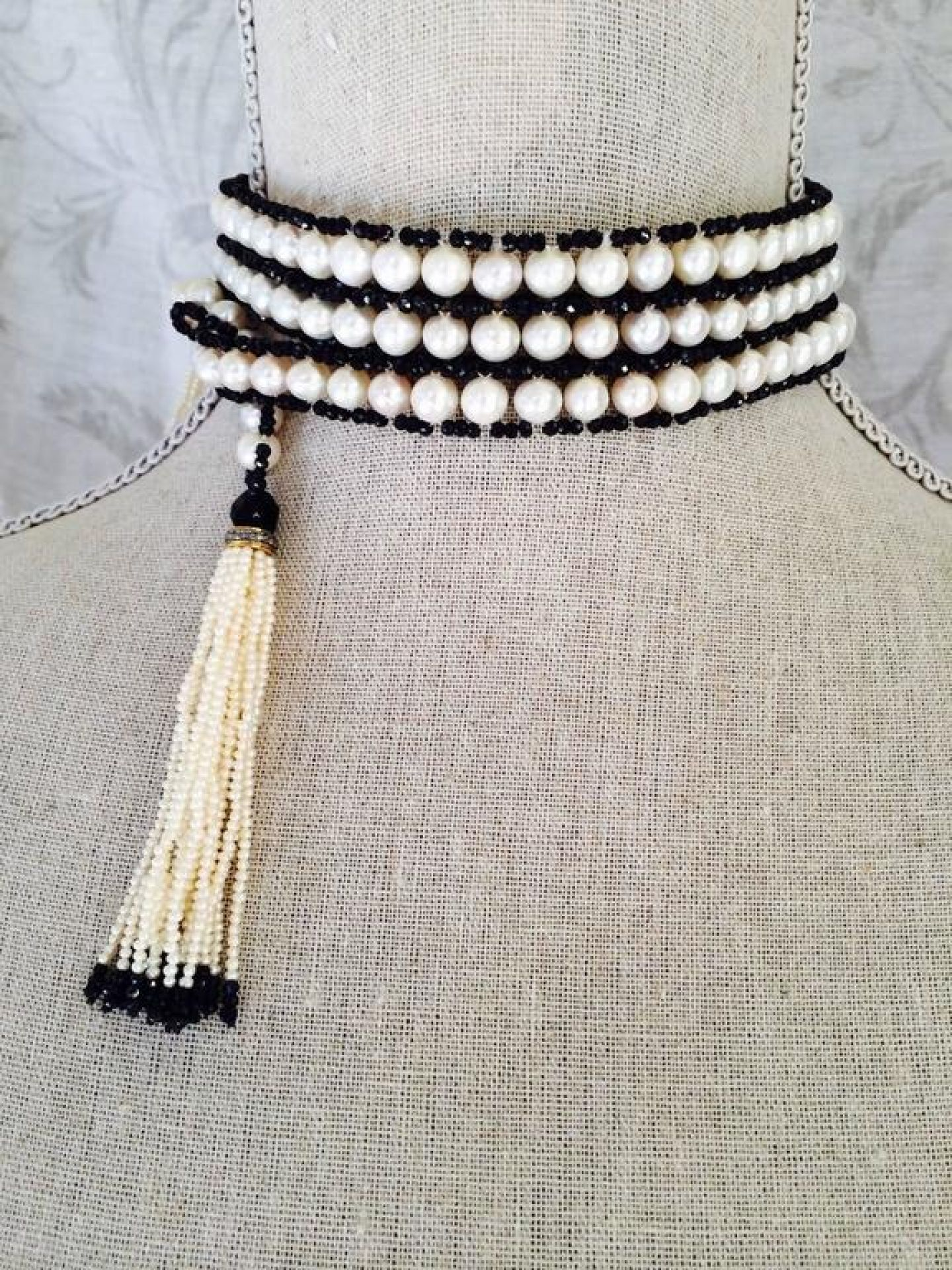 White Pearl, Faceted Black Spinel, and Onyx Beaded Sautoir with Diamonds