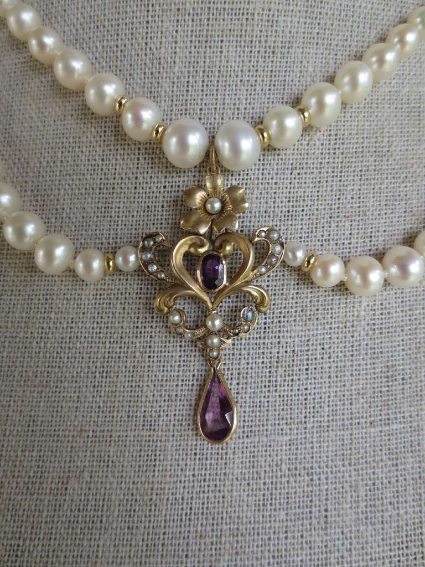 Pearl Draped Necklace with Vintage Amethyst Gold Centerpiece and 14 k Gold Clasp