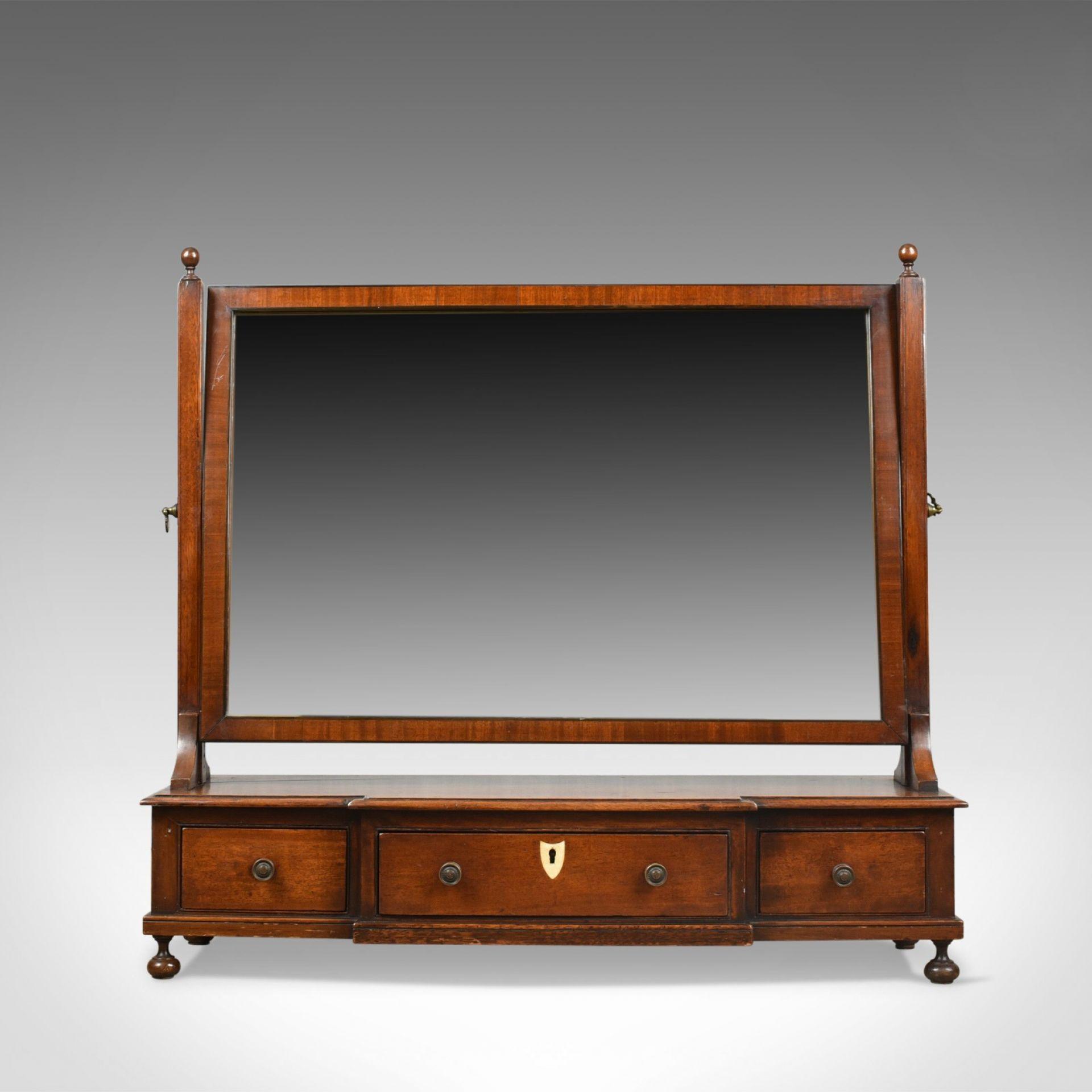 Large, Antique Dressing Table Mirror, Mahogany, Georgian, Platform, Toilet C1800