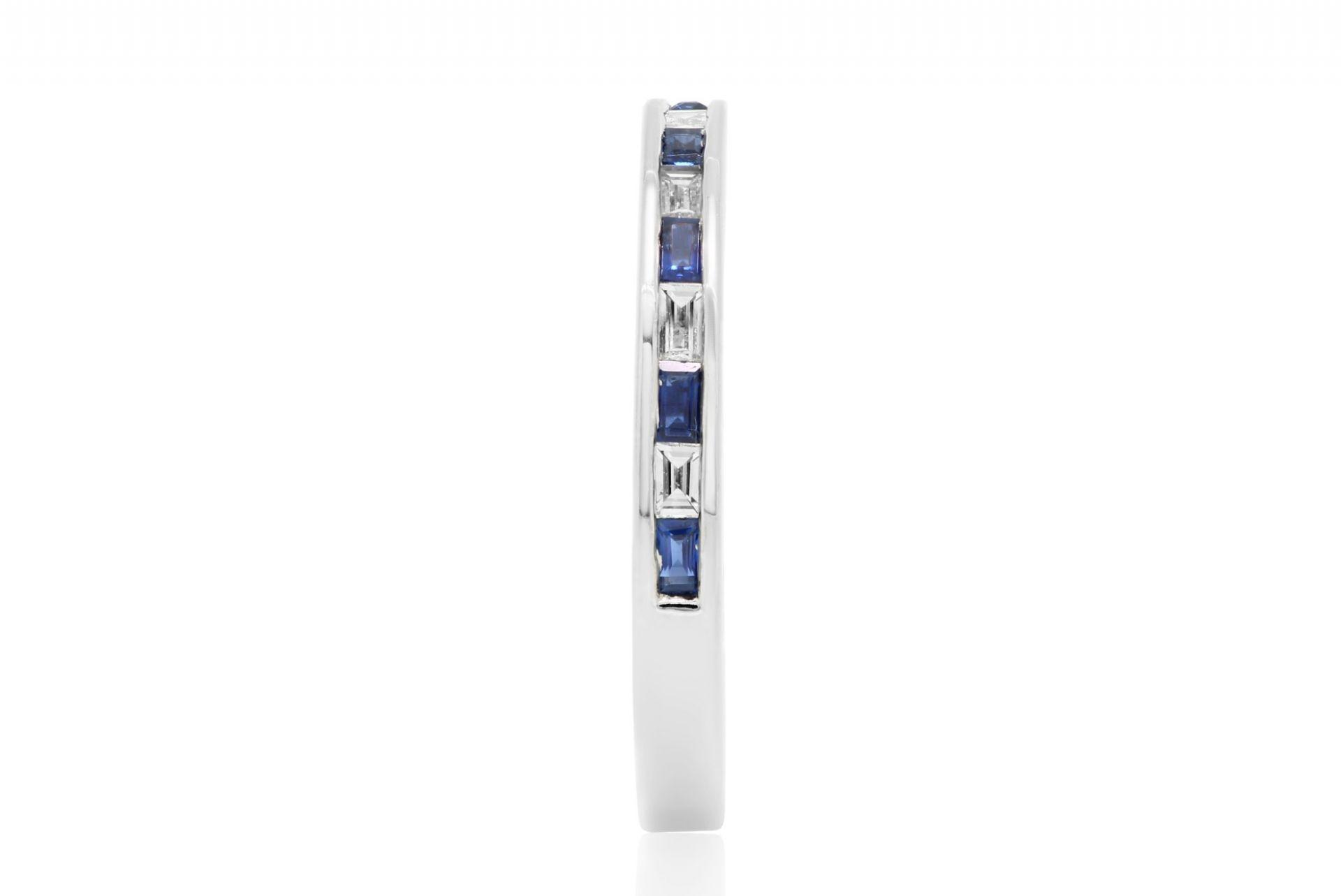 Sapphire Diamond Baguette Gold Band Ring