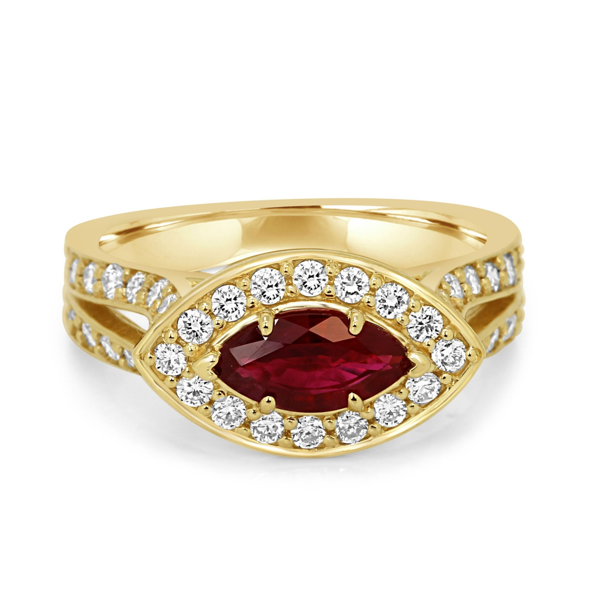 Ruby Marquise Diamond Halo Yellow Gold Cocktail Ring