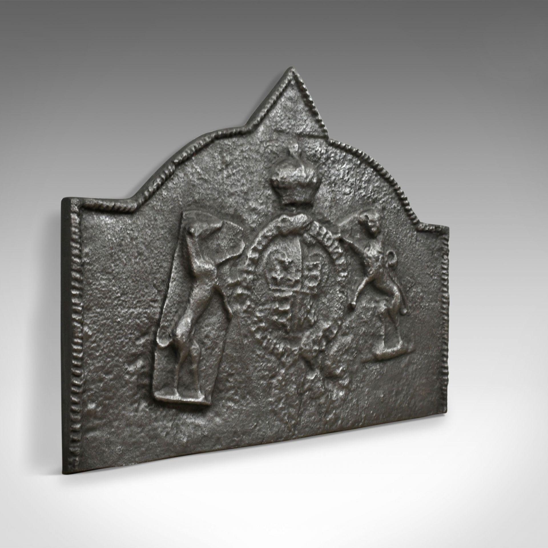 Tudor Revival Cast Iron Fire Back, Royal Crest, Lion, Greyhound, Victorian c1890