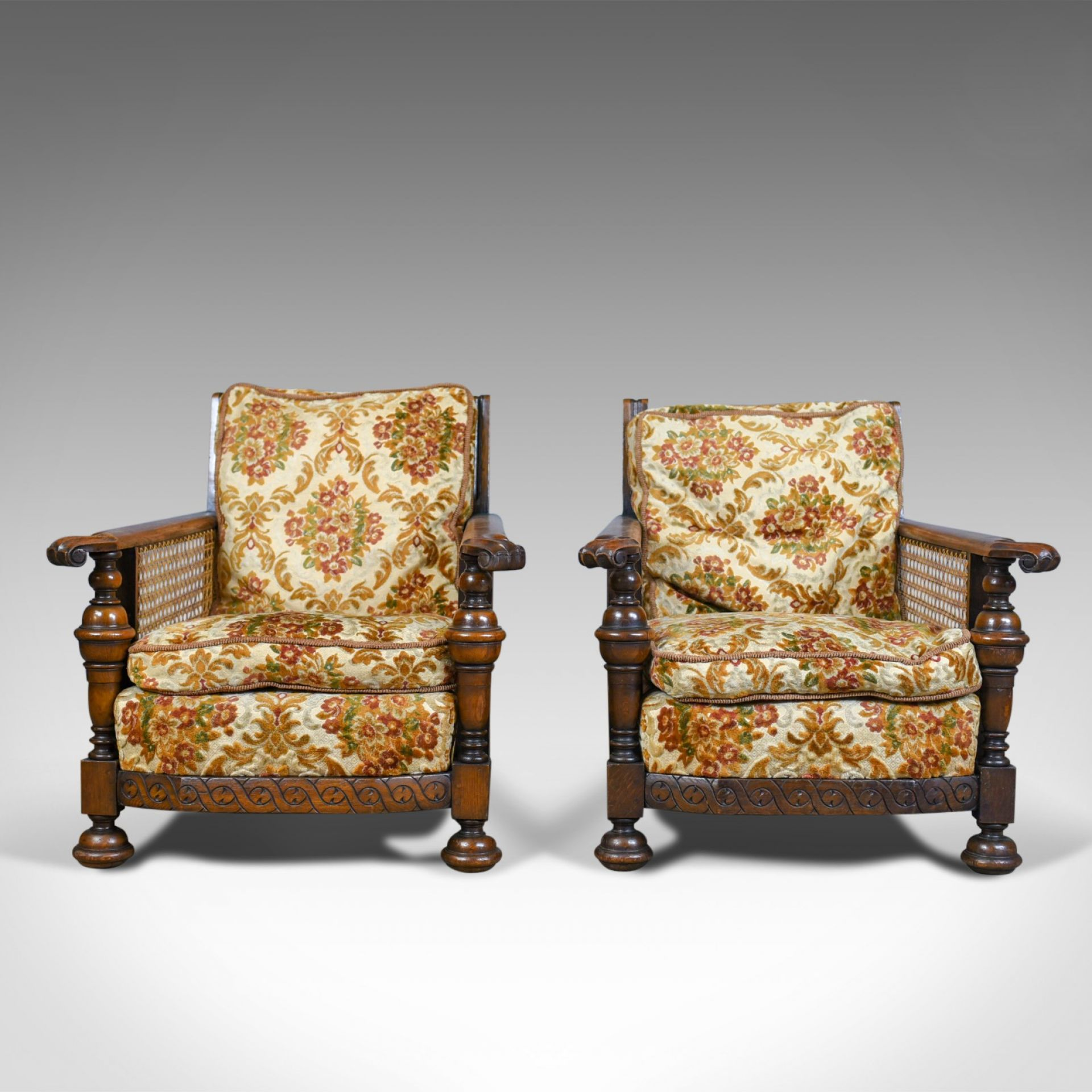 Pair of Antique, Conservatory Chairs, Oak, English, Bergere Armchairs Circa 1910