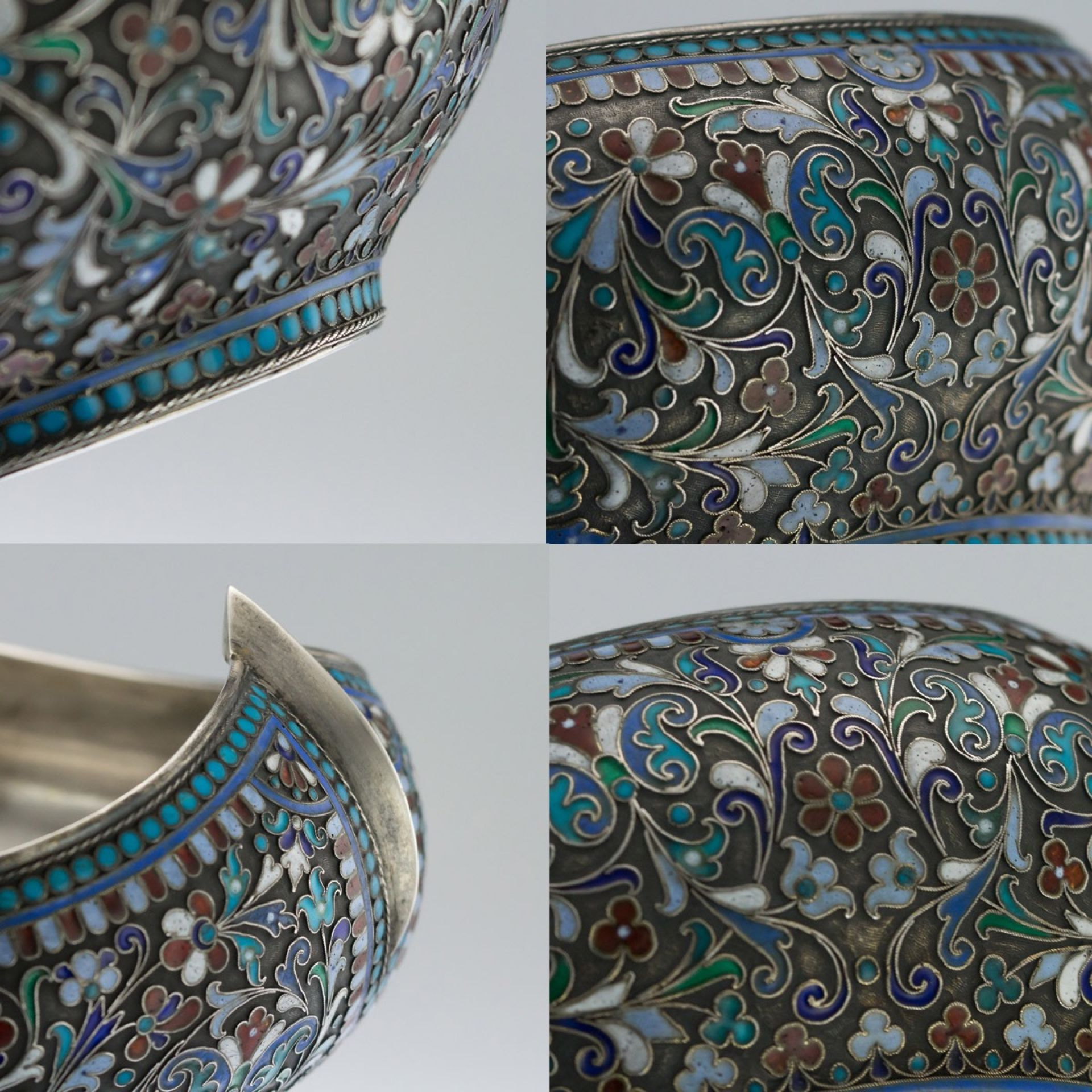 ANTIQUE 19thC RUSSIAN LARGE SOLID SILVER & ENAMEL KOVSH, VICTOR AKIMOV c.1890