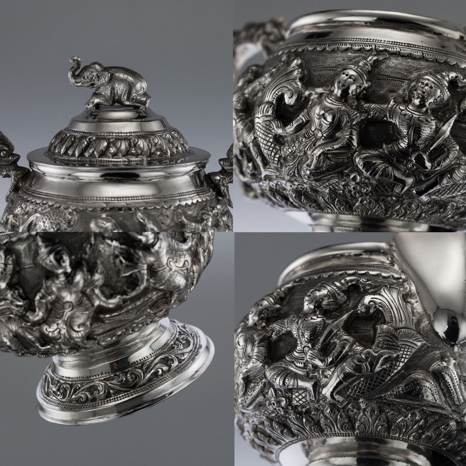 ANTIQUE 20thC BURMESE SOLID SILVER TEA & COFFEE SET ON TRAY c.1920