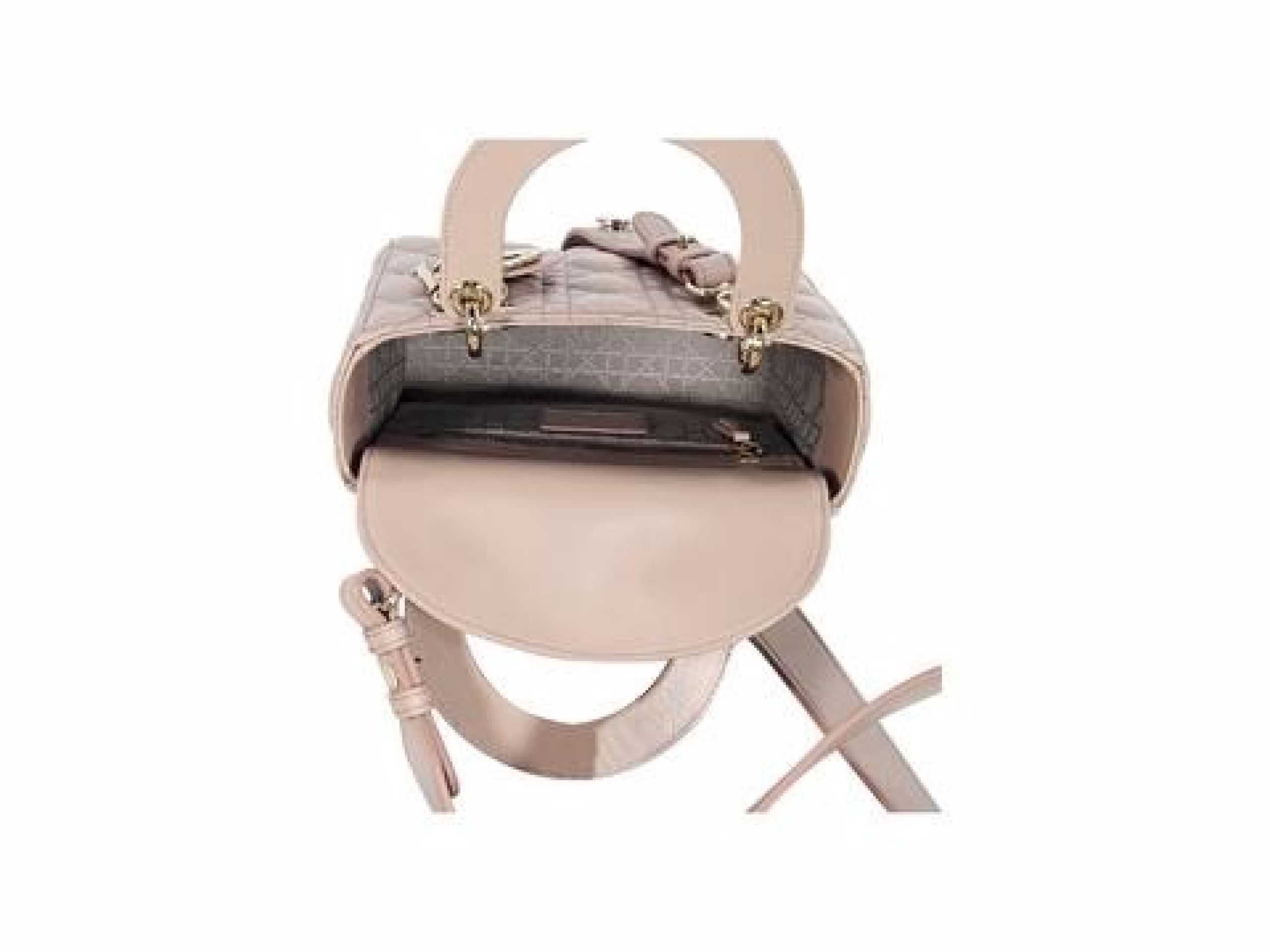 Beige Christian Dior Leather Lady Dior Mini Satchel