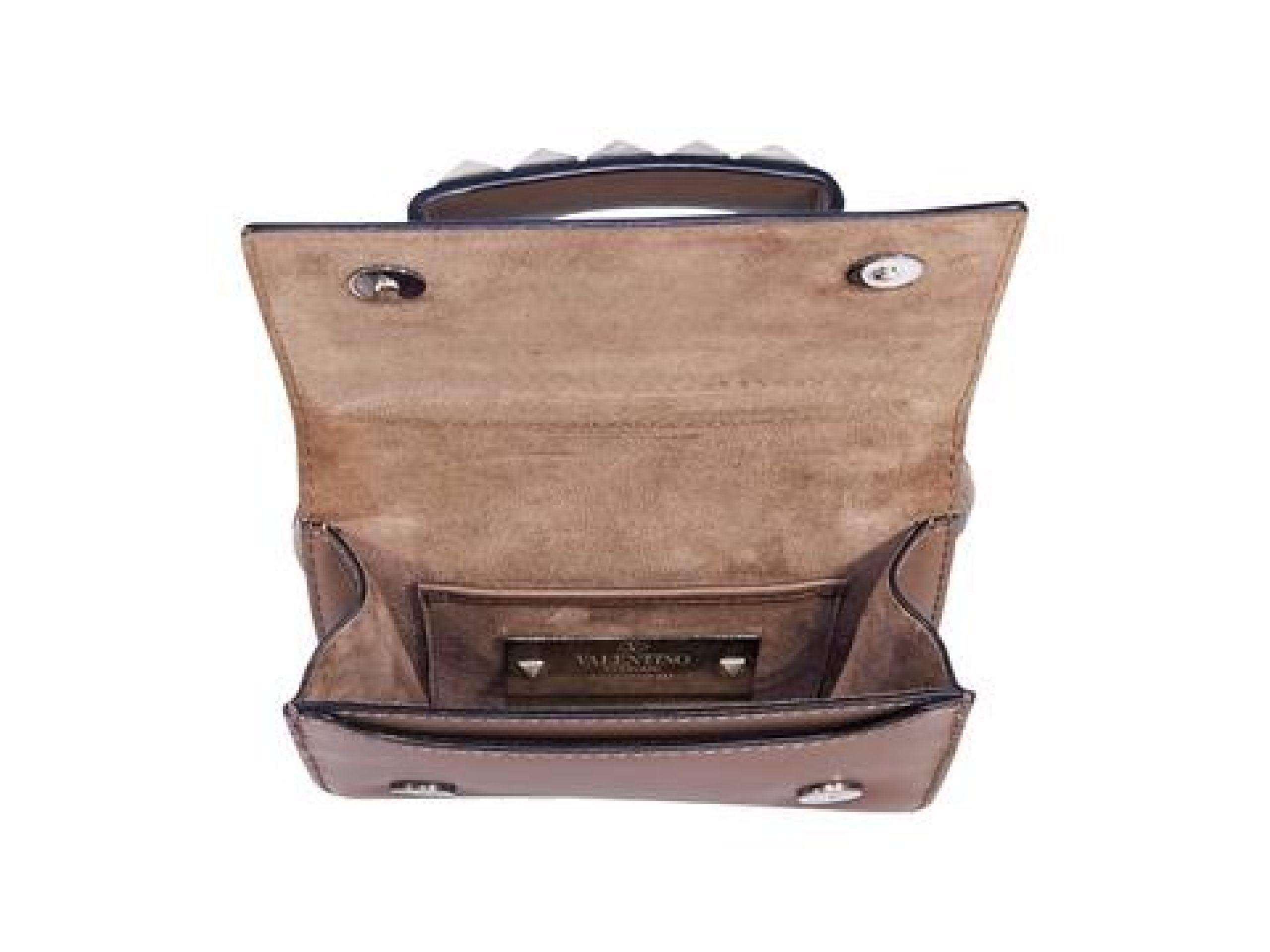 Tan Valentino Leather Rockstud Vava Voom Bag