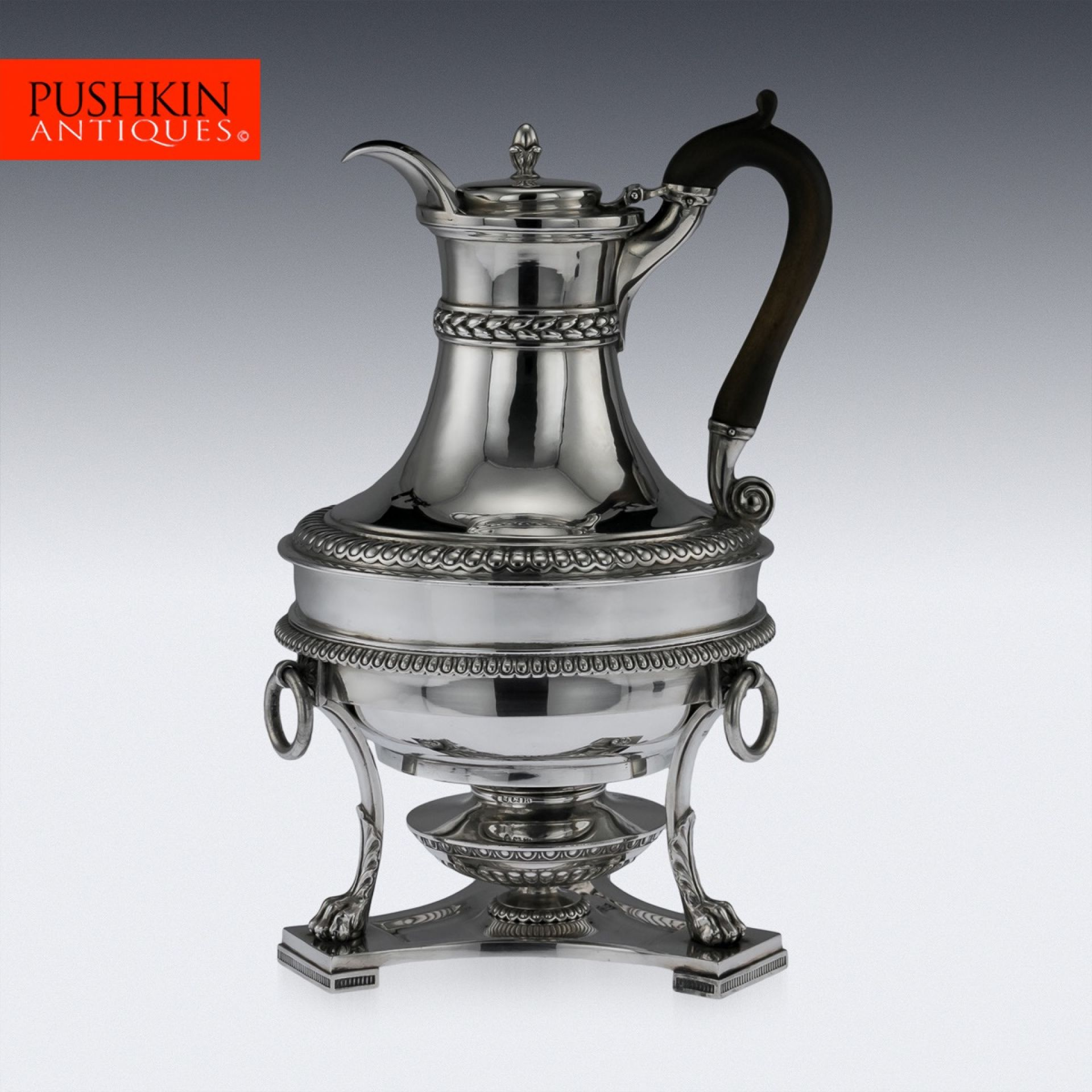 ANTIQUE 19THC RARE GEORGIAN SOLID SILVER JUG ON STAND, PAUL STORR C.1806