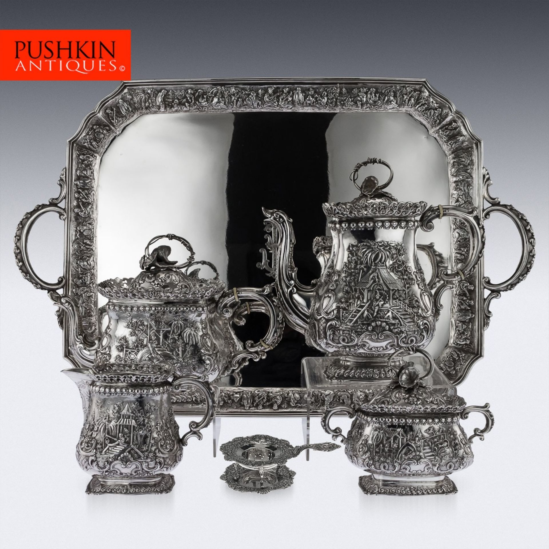 ANTIQUE 19thC GERMAN SOLID SILVER CHINESE STYLE TEA SERVICE c.1890