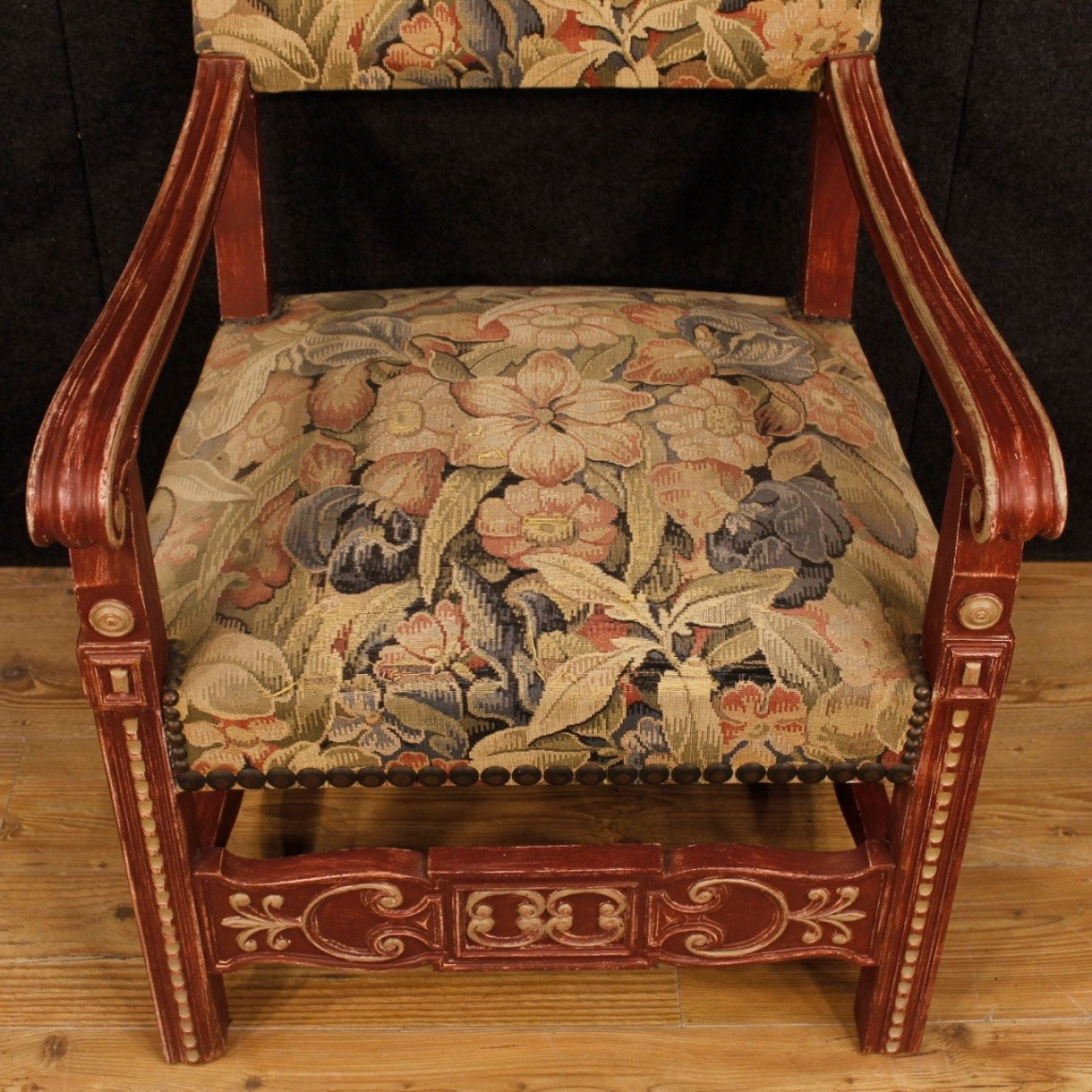 Pair Of French Armchairs In Painted Wood With Floral Fabric From 20th Century