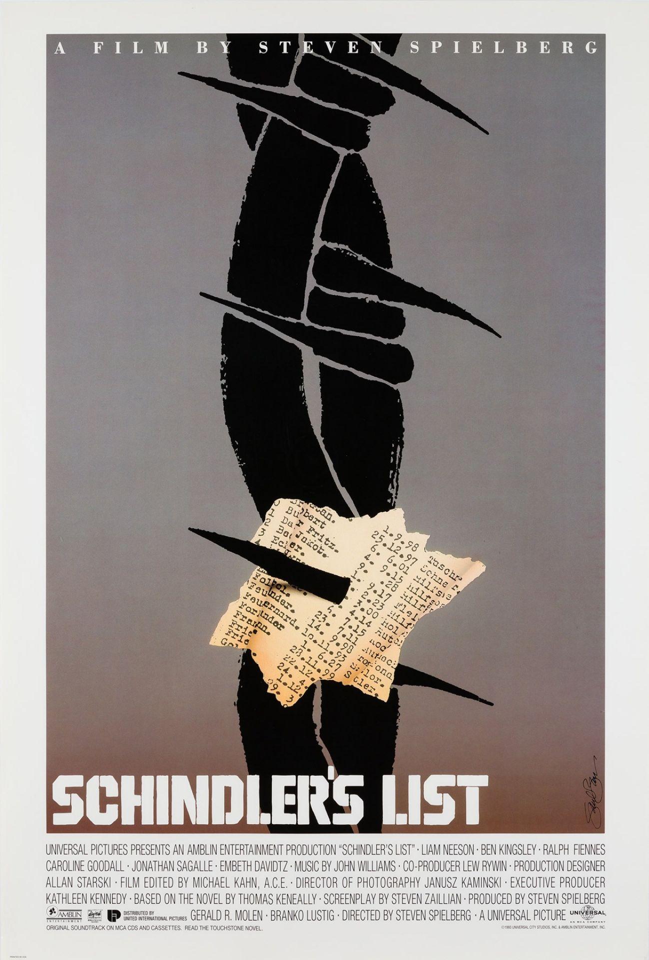 Original Schindler's List 1993 US Special Film Movie Poster, Saul Bass