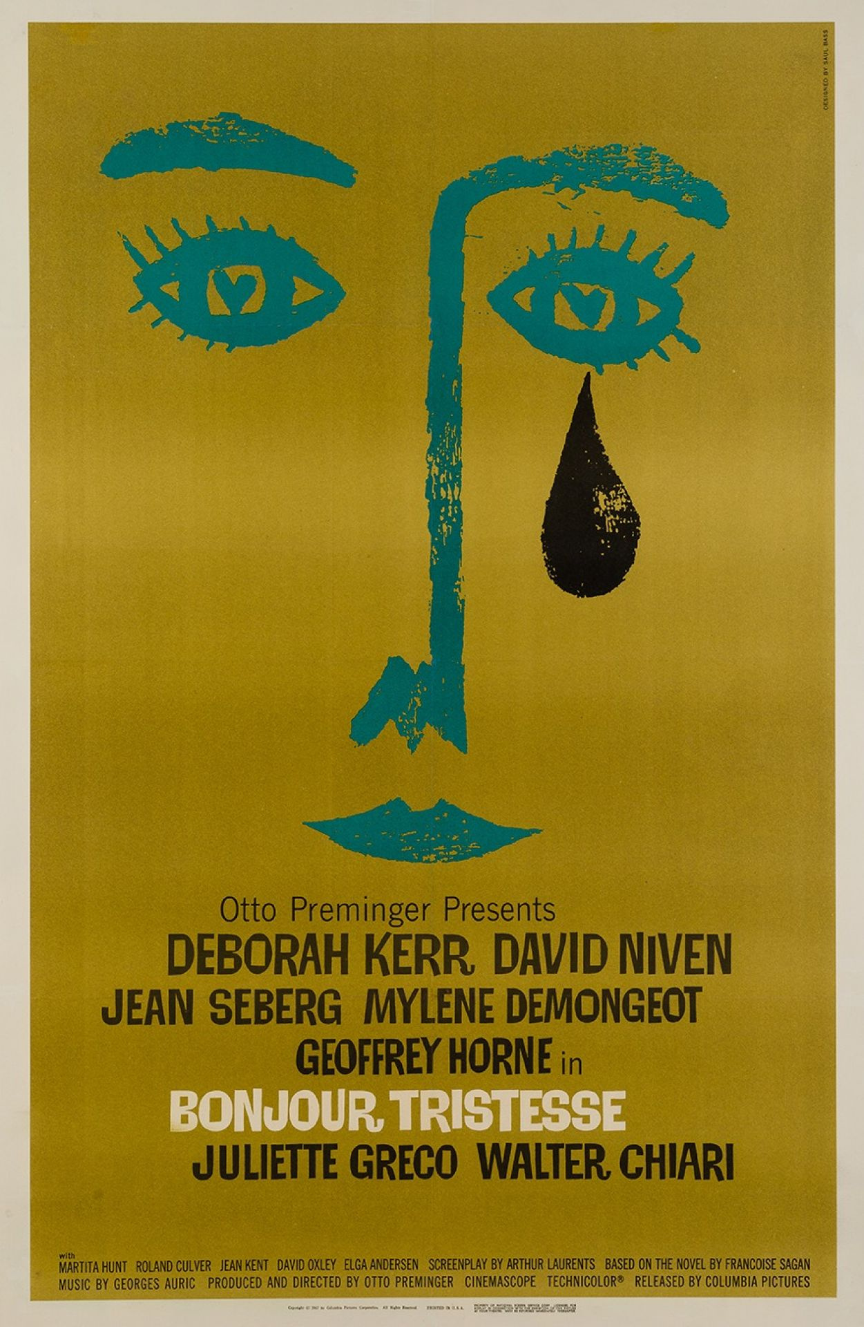 Original Bonjour Tristesse 1968 US Film Movie Poster, Saul Bass