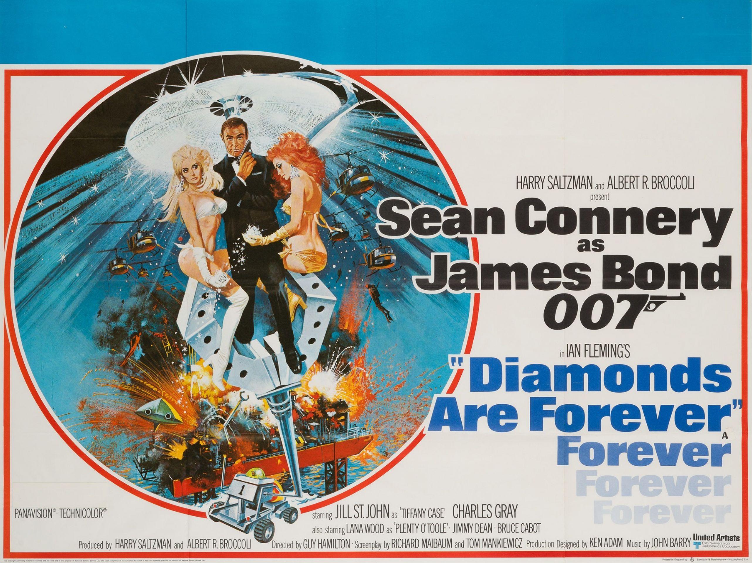 Original 1971 Diamonds Are Forever British Film Movie Poster, Robert McGinnis