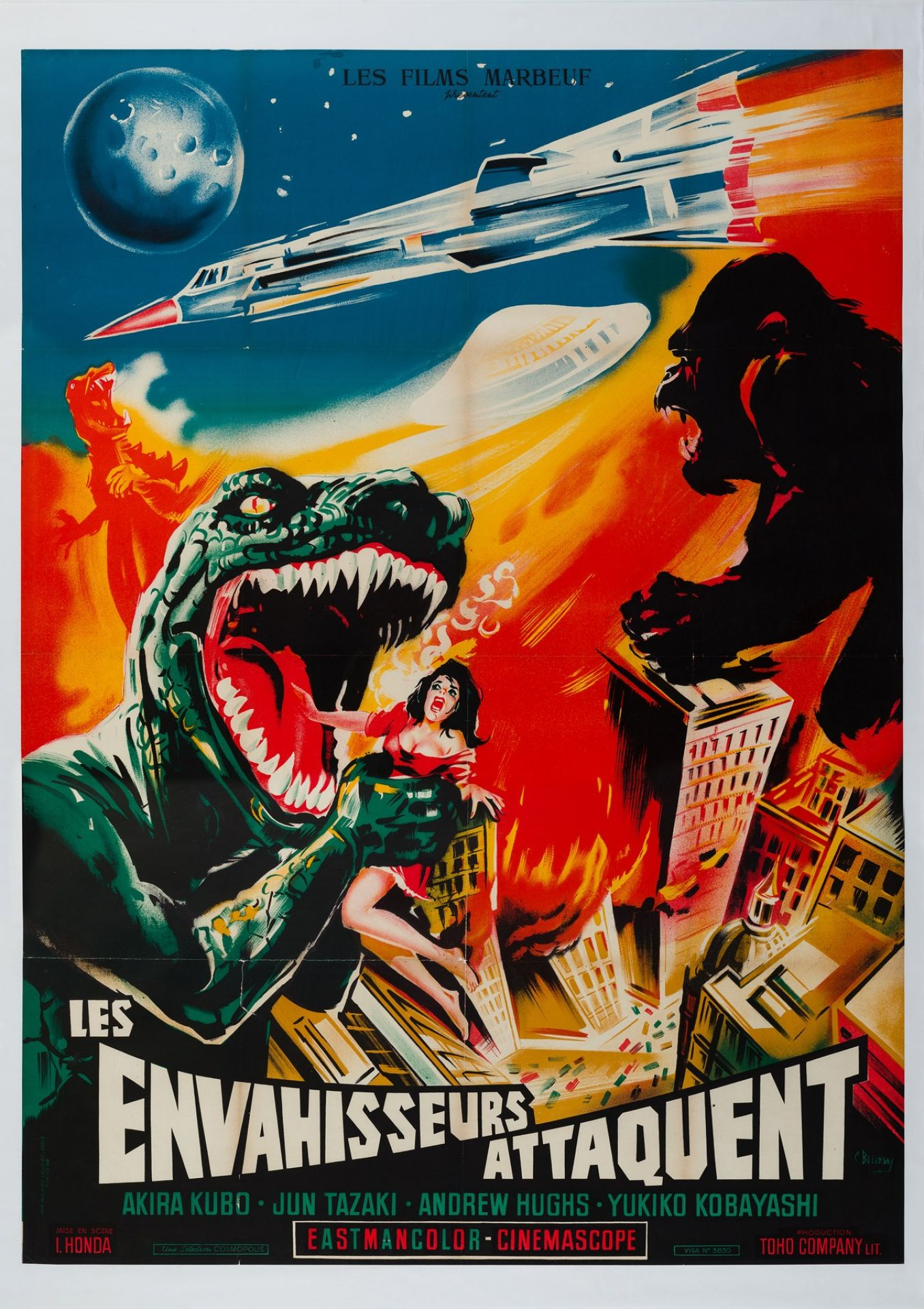 Original Destroy All Monsters 1970 French Film Movie Poster, ConstantineBelinsky