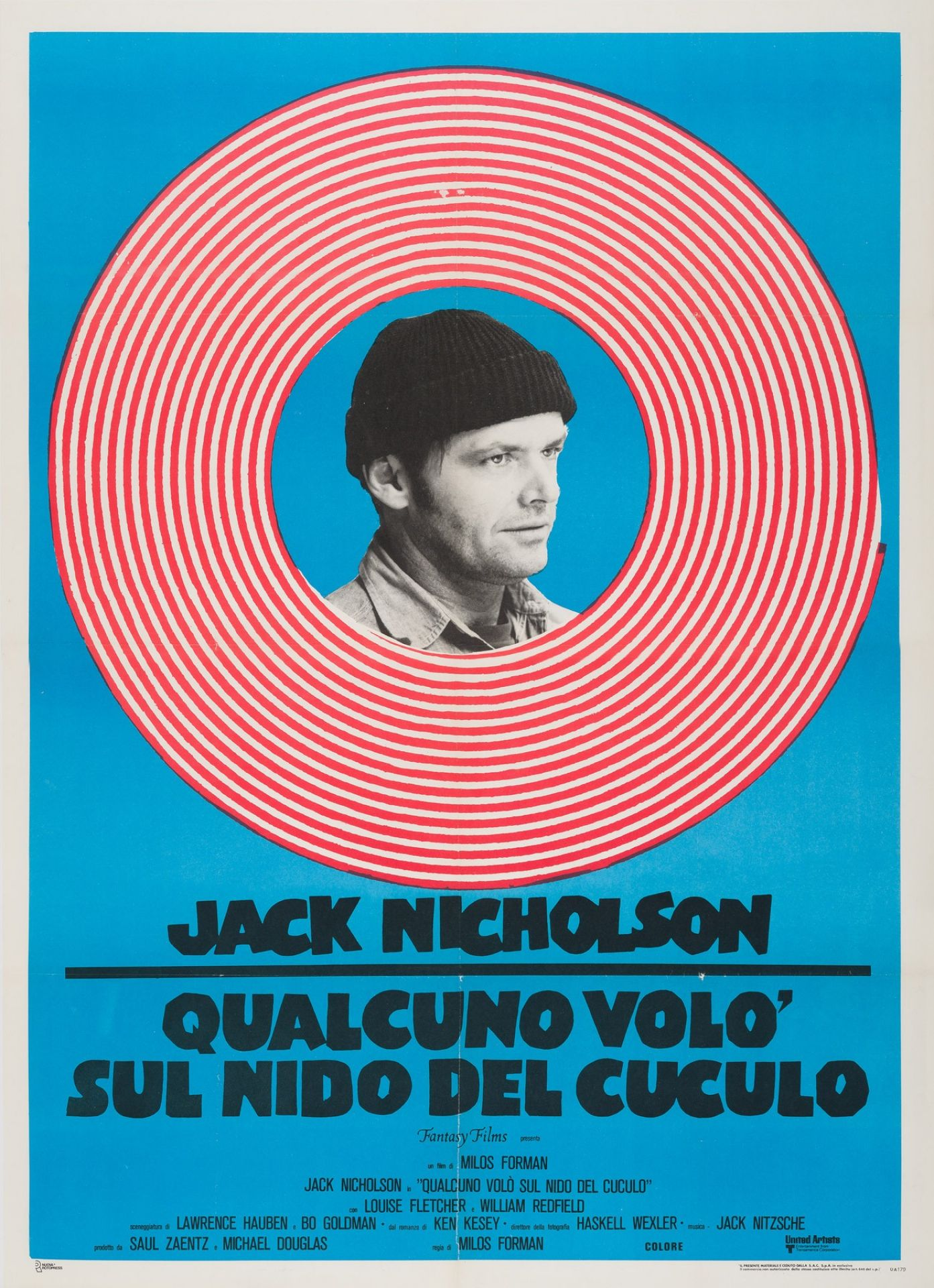 Original One Flew Over the Cuckoo's Nest R1970s Italian Film Movie Poster