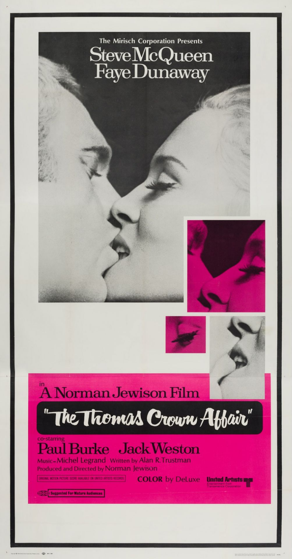 Original The Thomas Crown Affair 1968 US Film Movie Poster