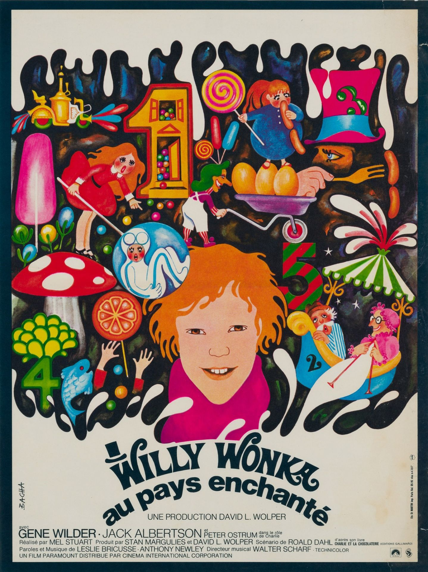 Original Willy Wonka and the Chocolate Factory 1971 French Film Movie Poster