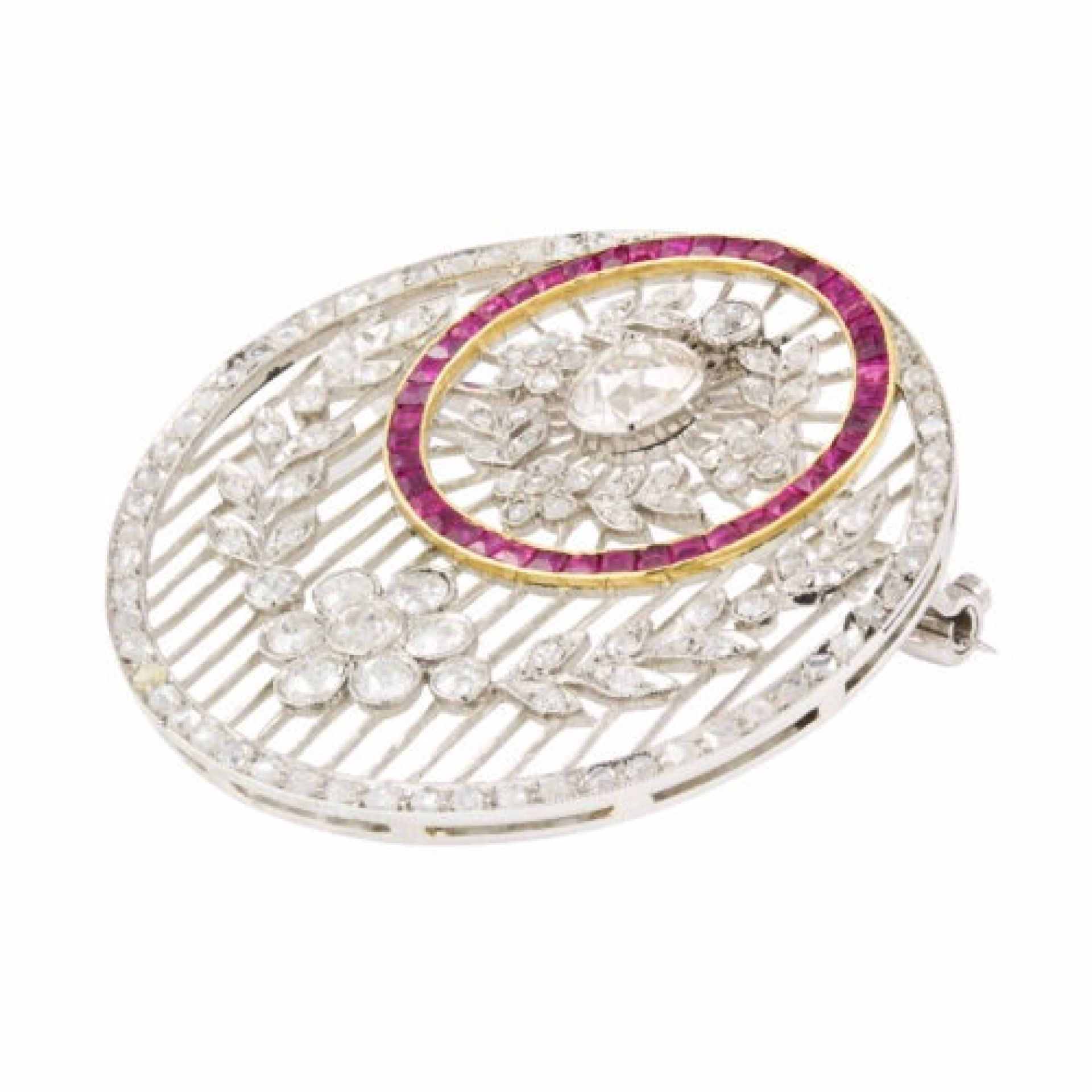 A ruby and diamond pendant