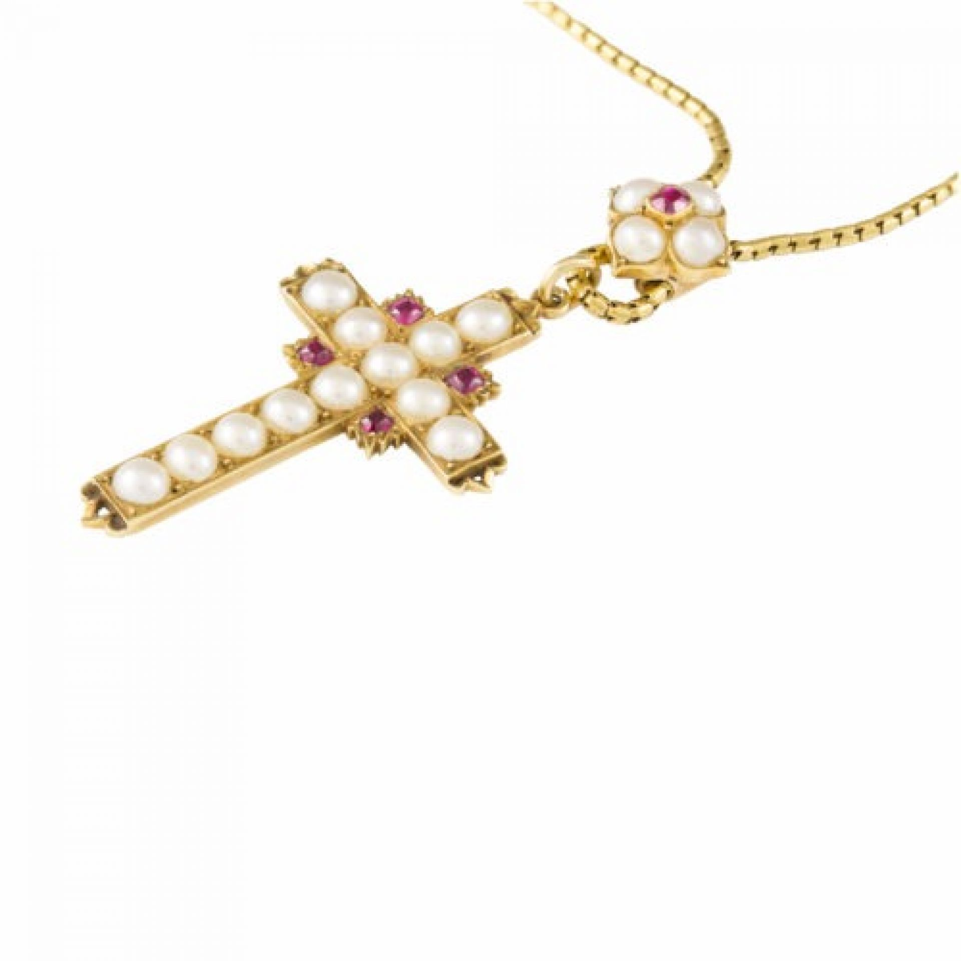 A Victorian pearl and ruby cross