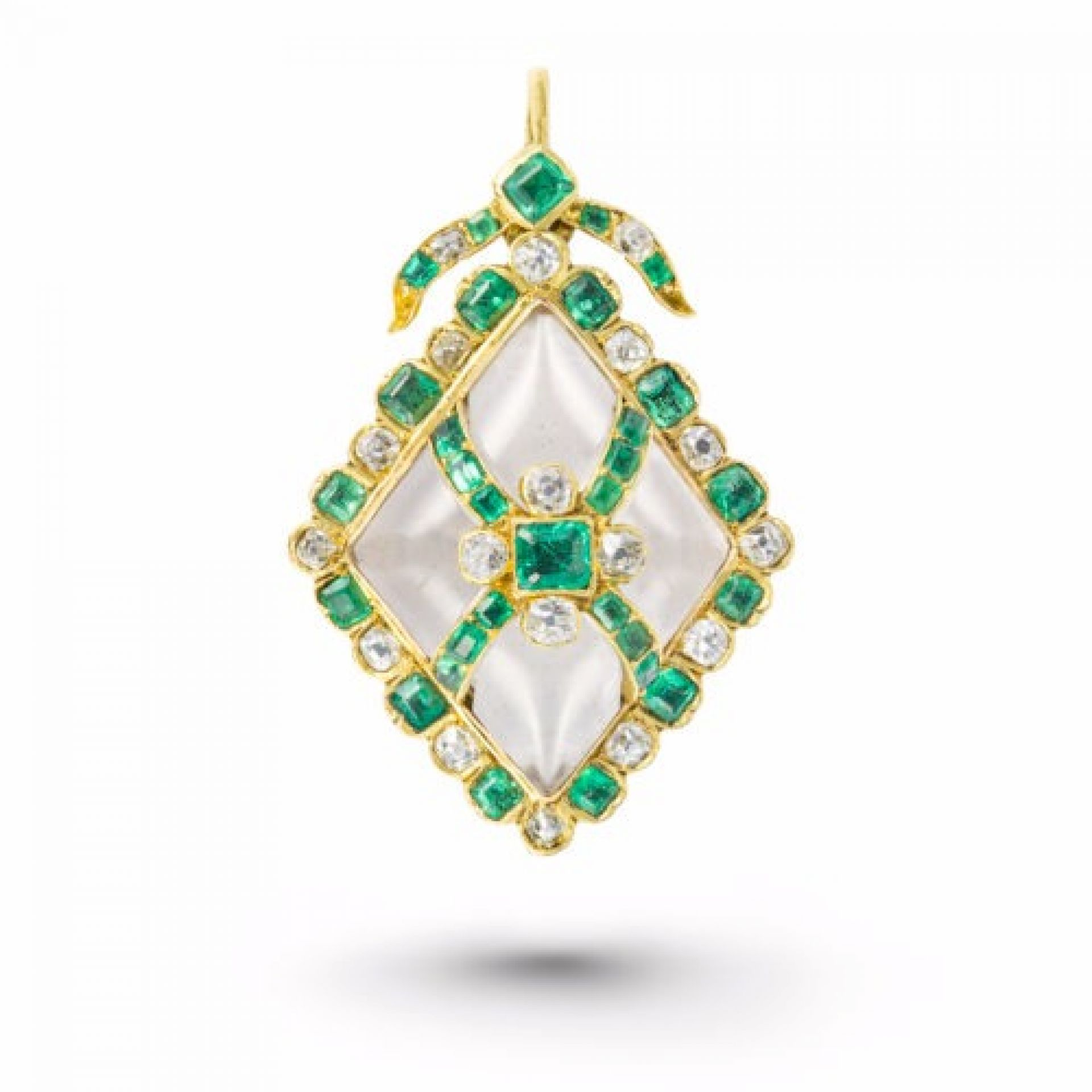 An emerald, rock crystal and diamond pendant