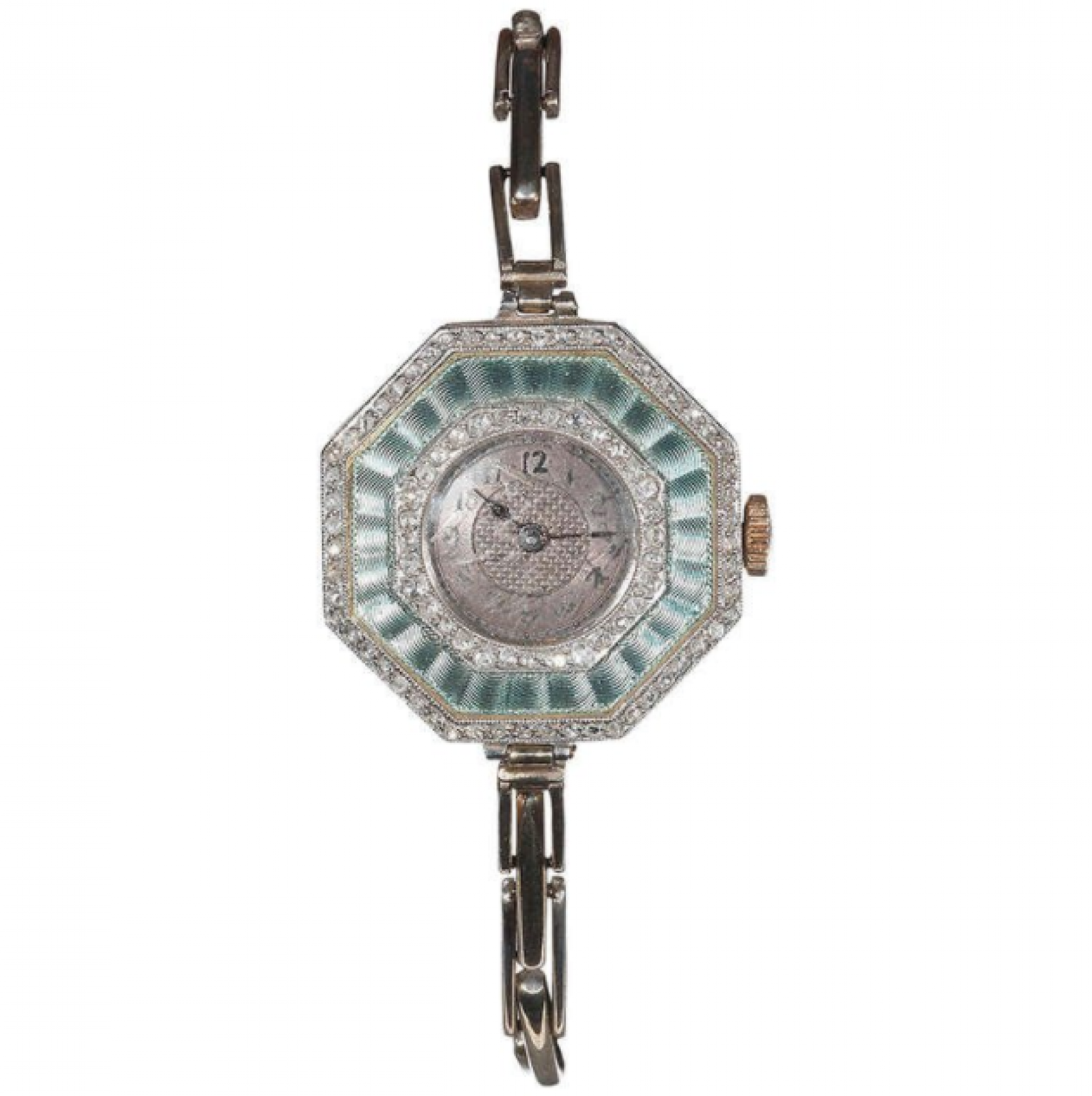 Cocktail Watch Art Deco Diamond and Enamel