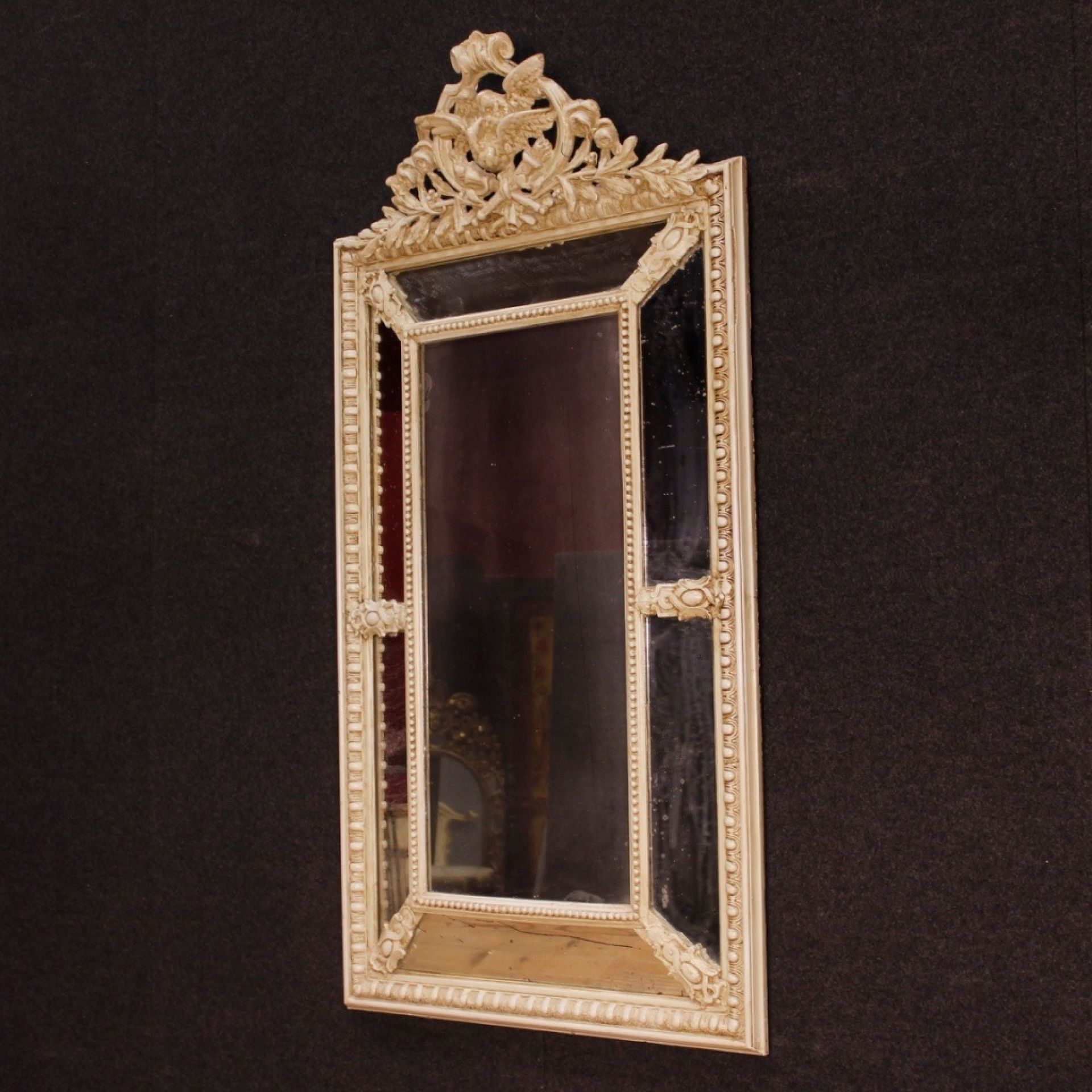 20th Century Painted Wood and Plaster French Mirror, 1930