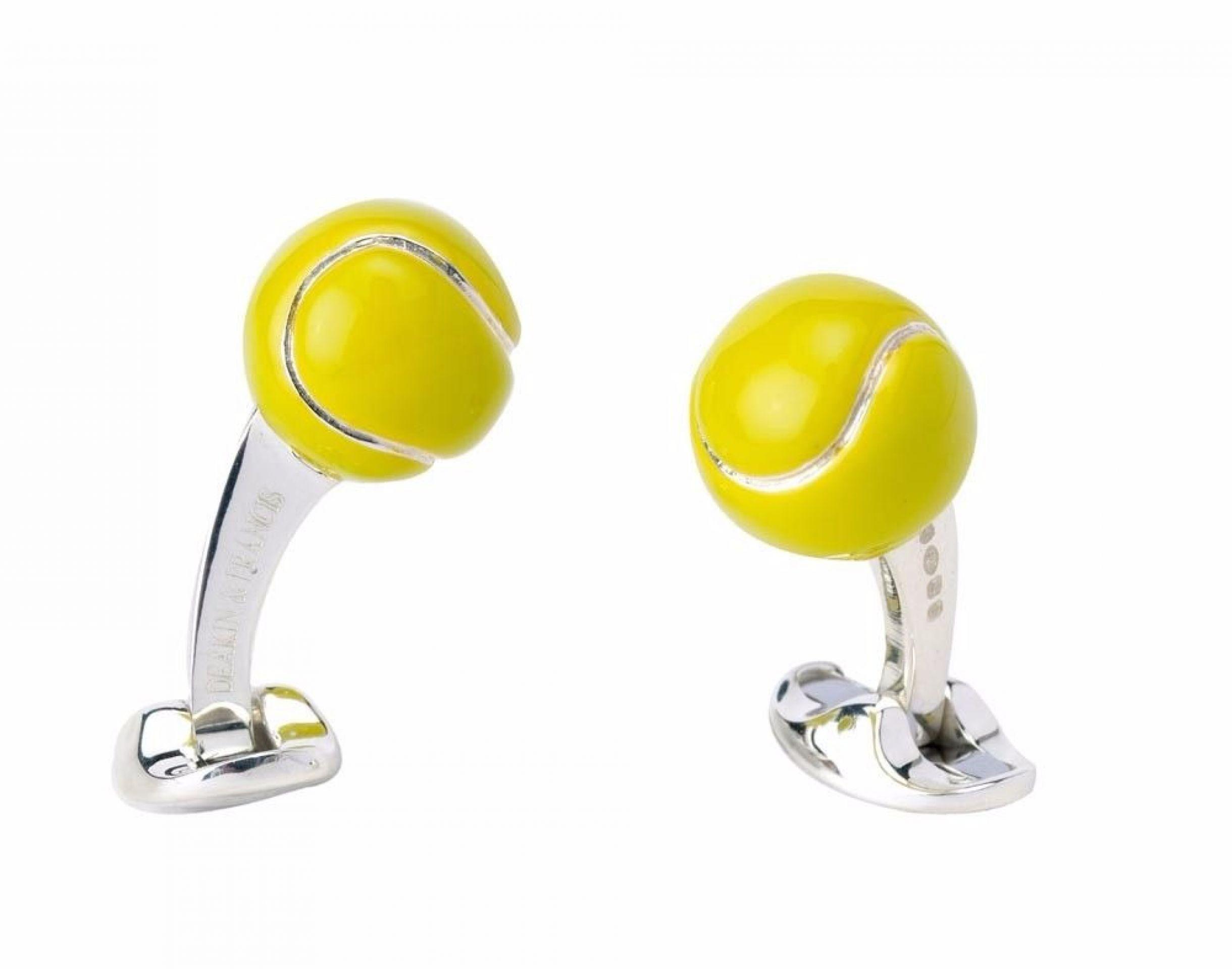 Silver Tennis Ball Cufflinks by Deakin & Francis
